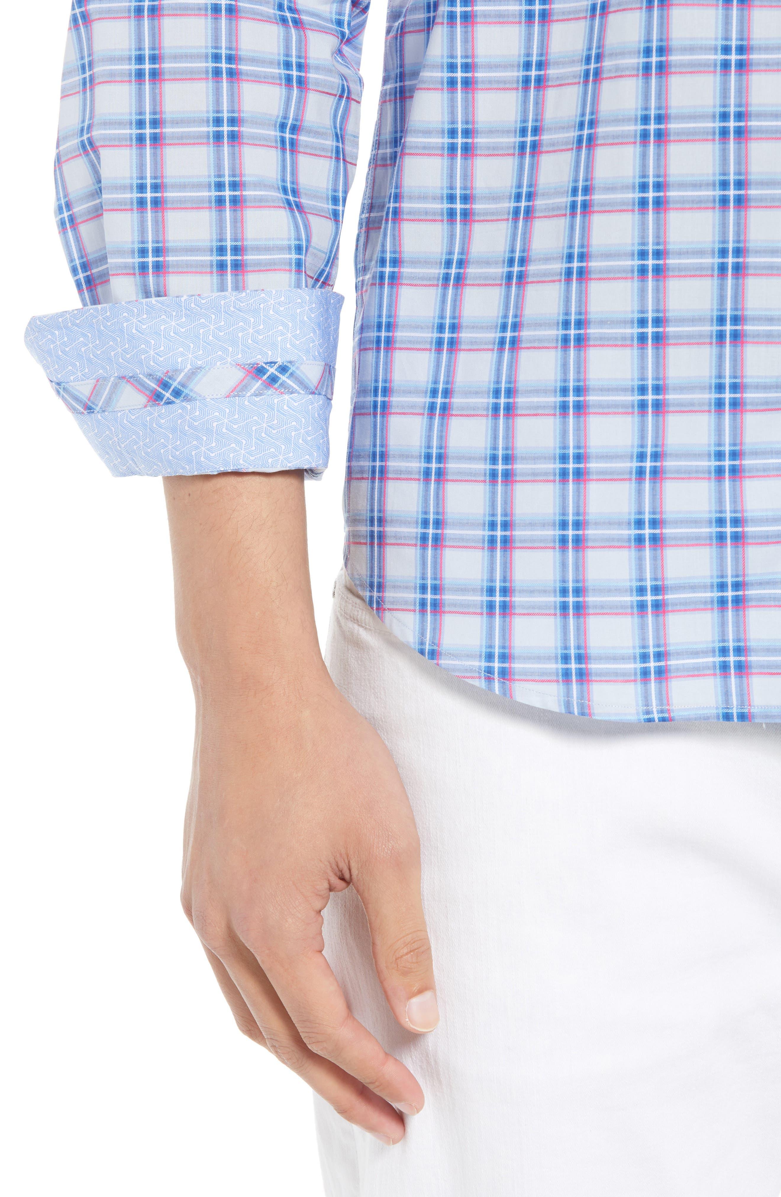 Alvaro Regular Fit Plaid Sport Shirt,                             Alternate thumbnail 4, color,                             450
