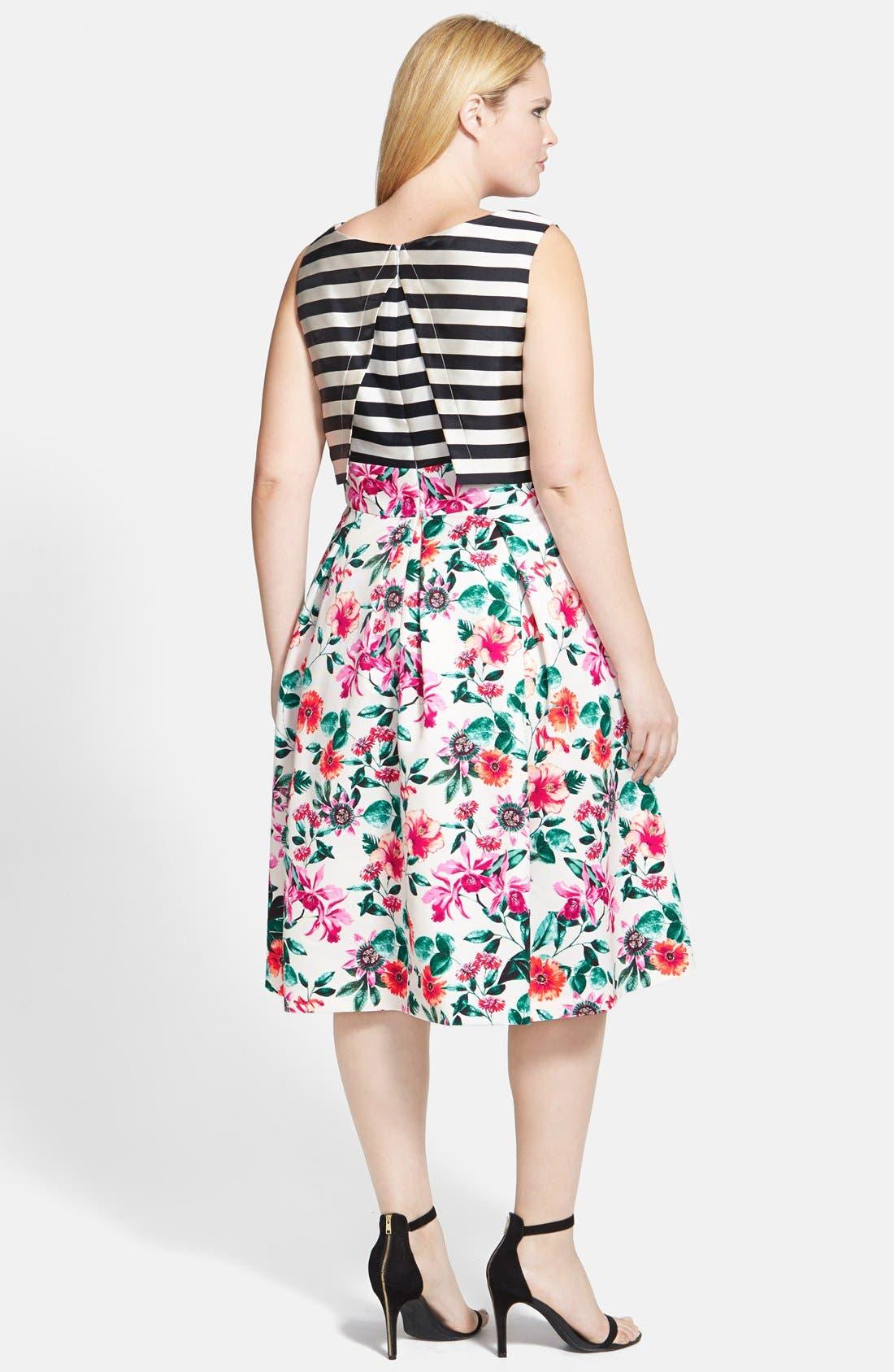 Mixed Print Bodice Overlay Dress,                             Alternate thumbnail 4, color,                             900