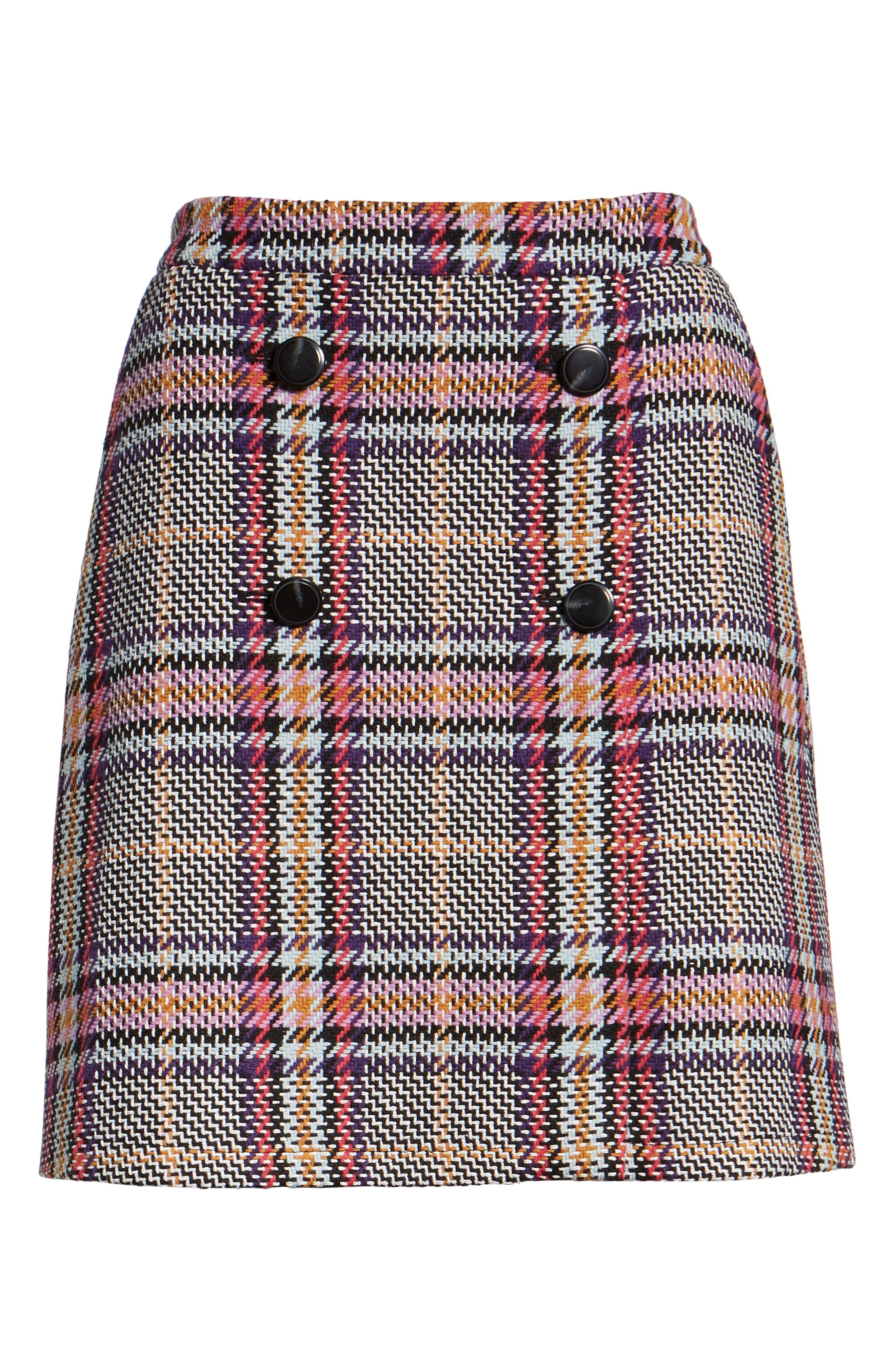 Button Detail Plaid Skirt,                             Alternate thumbnail 6, color,                             530