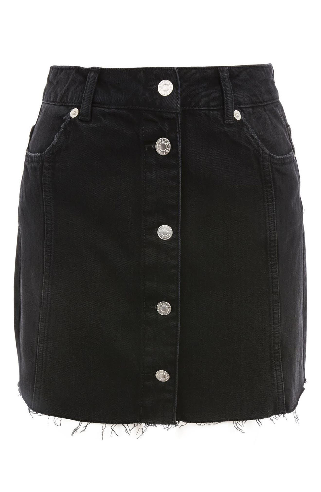 Button Denim Miniskirt,                             Alternate thumbnail 2, color,                             001
