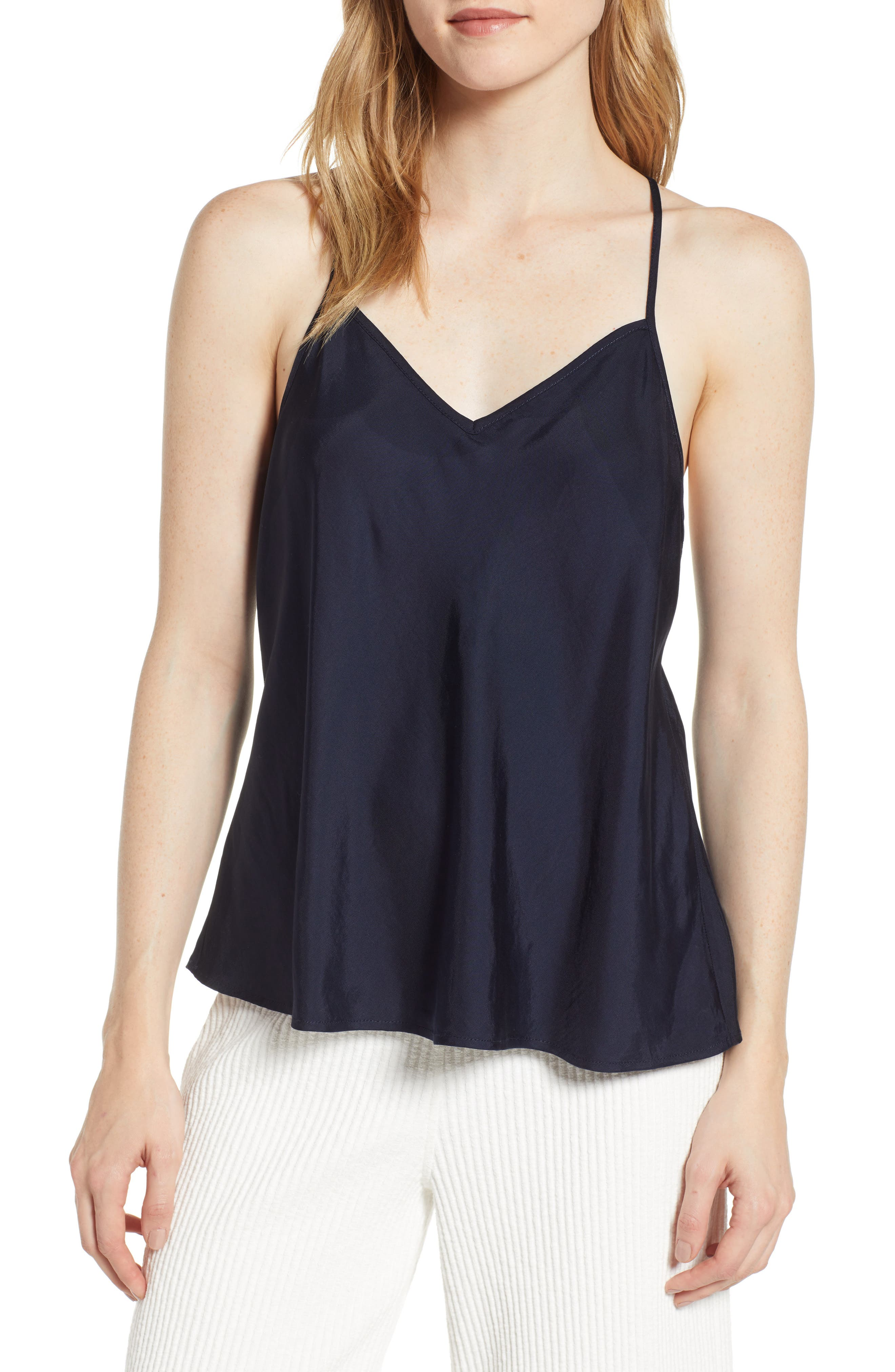 Lou & Grey Shimmer Twill Racerback Camisole Top, Blue
