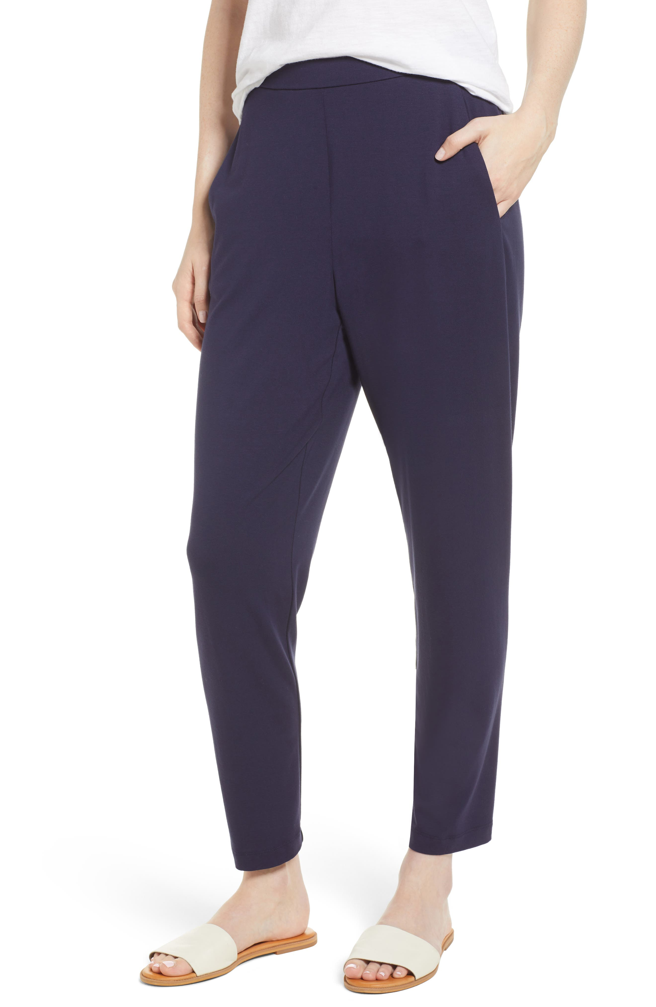 Crop Stretch Knit Pants,                             Main thumbnail 1, color,                             MIDNIGHT