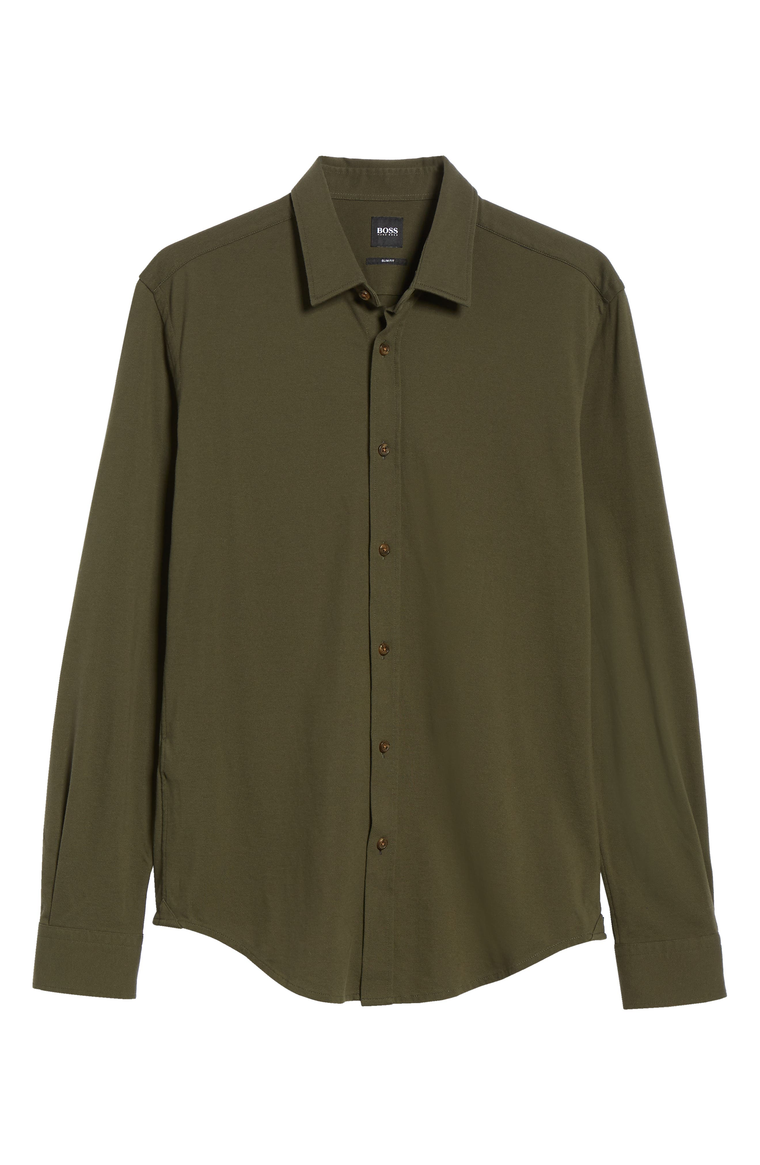 Ronni Slim Fit Solid Sport Shirt,                             Alternate thumbnail 5, color,                             GREEN