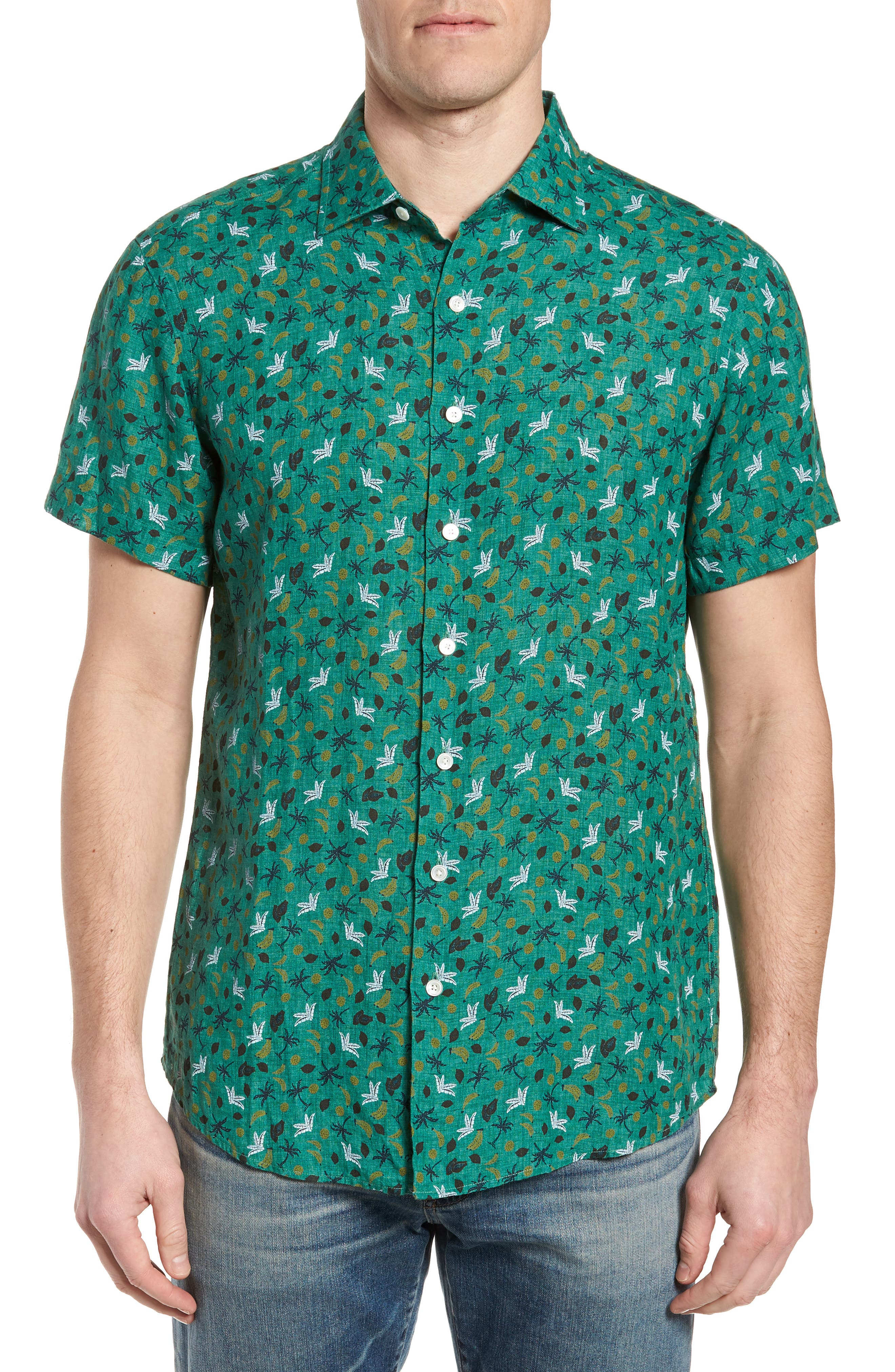 Canoe Creek Tropical Print Linen Sport Shirt,                         Main,                         color, 321