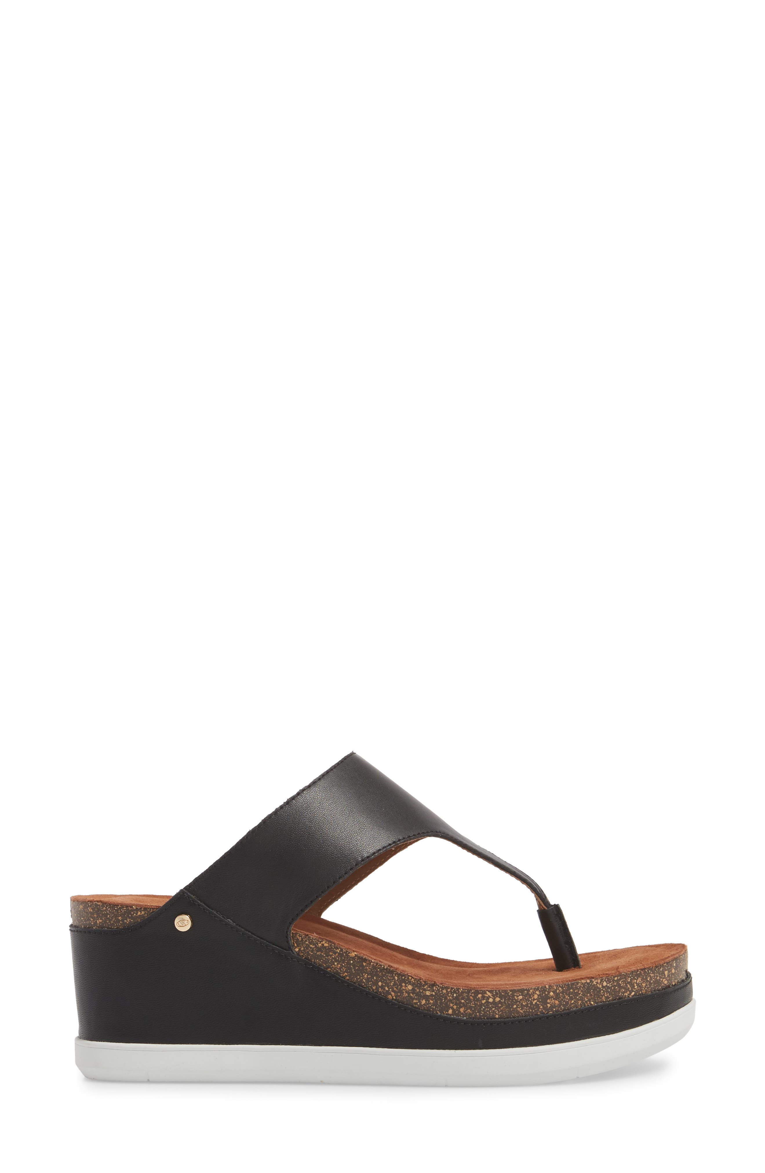 Paige Wedge Mule,                             Alternate thumbnail 3, color,                             BLACK LEATHER