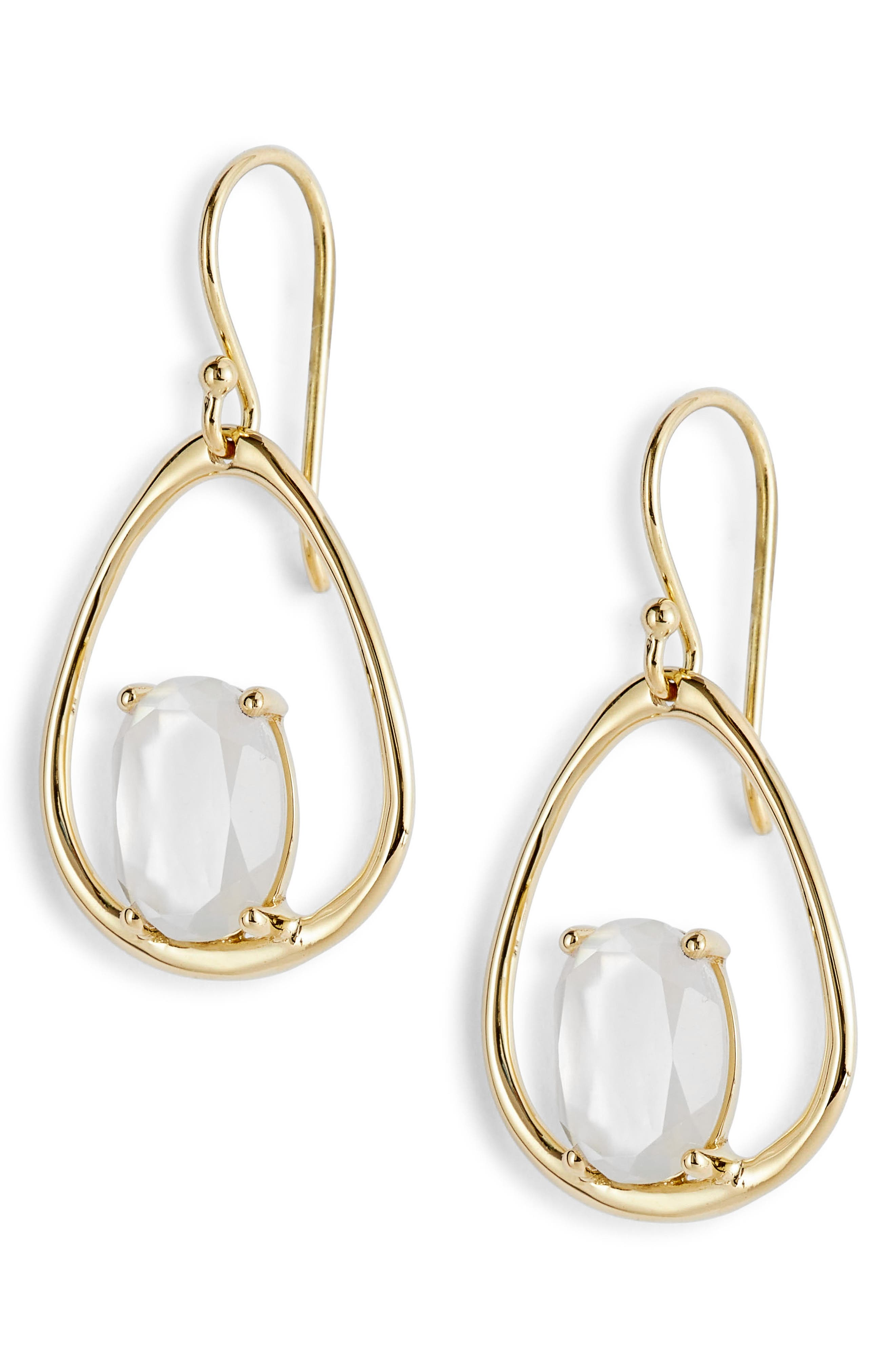 Rock Candy 18K Gold Small Drop Earrings,                             Main thumbnail 1, color,                             GOLD/ MOTHER OF PEARL