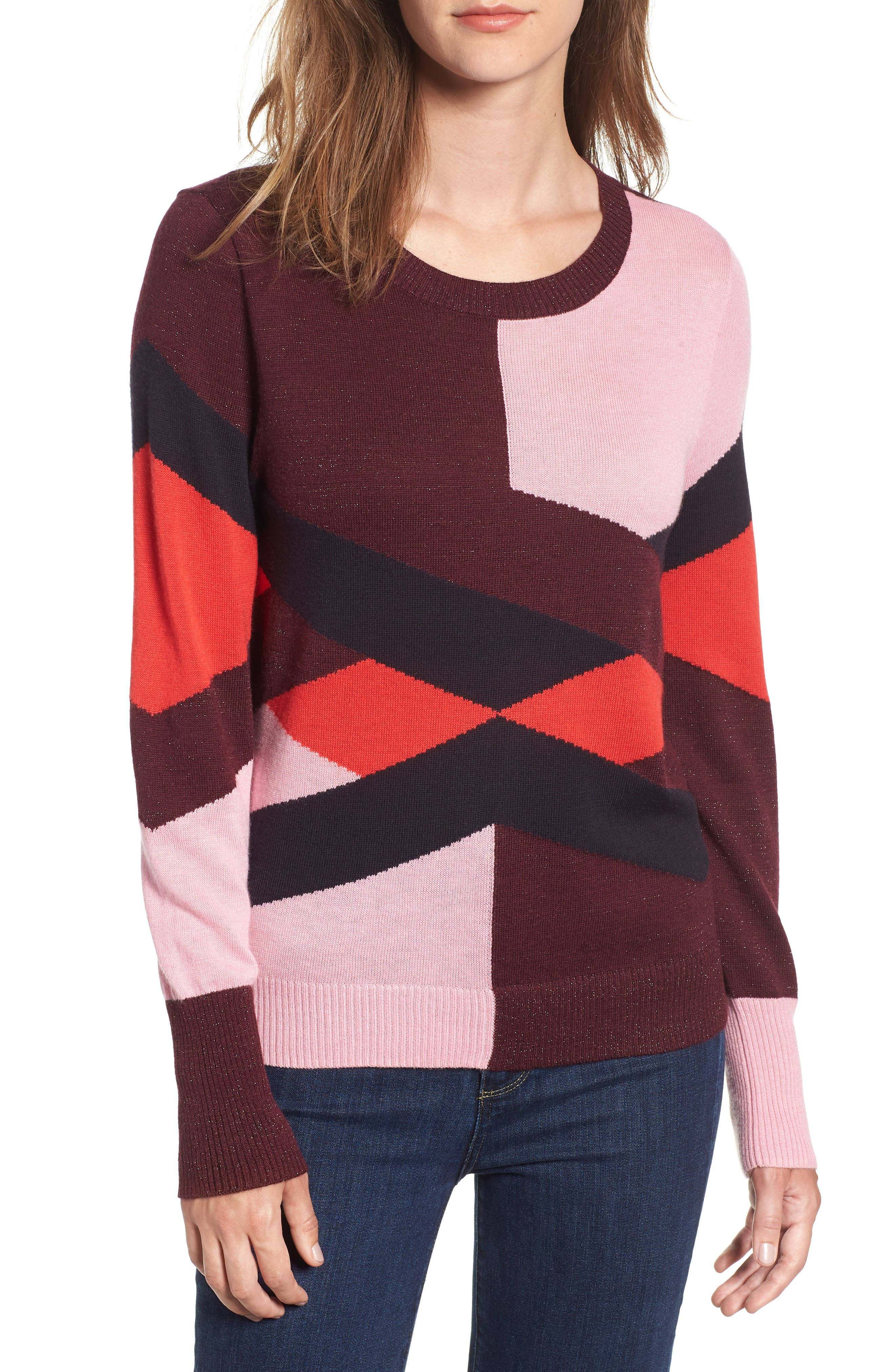 Intarsia Sweater,                         Main,                         color, PINK STORM GRAPHIC INTARSIA