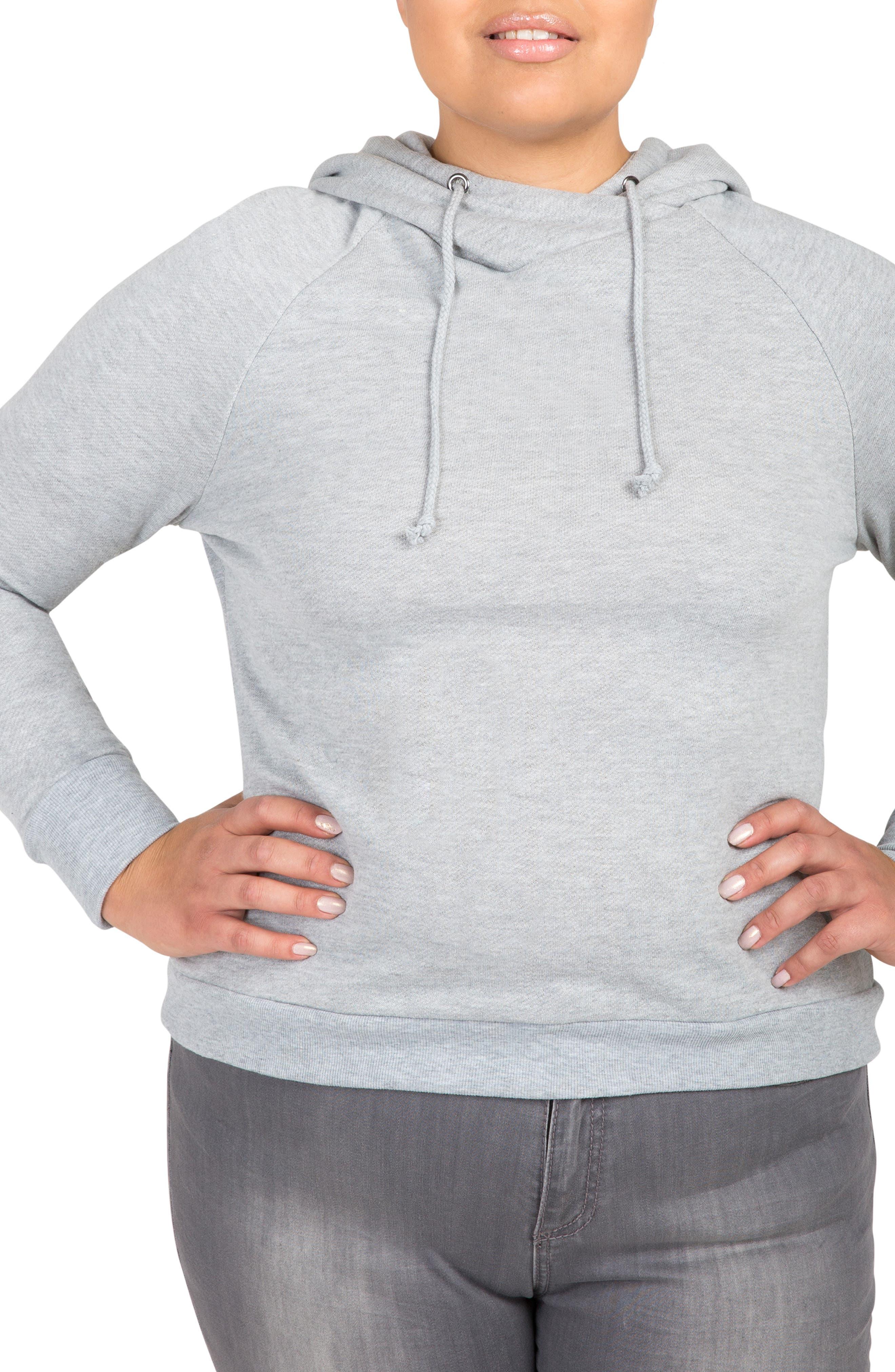 Back Cutout Hooded Sweatshirt,                         Main,                         color, GREY