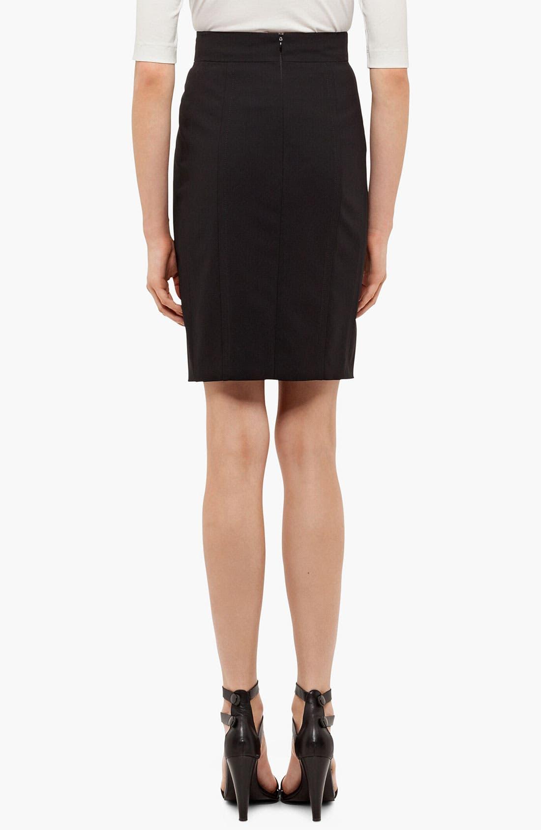 Wool Pencil Skirt,                             Alternate thumbnail 3, color,                             BLACK
