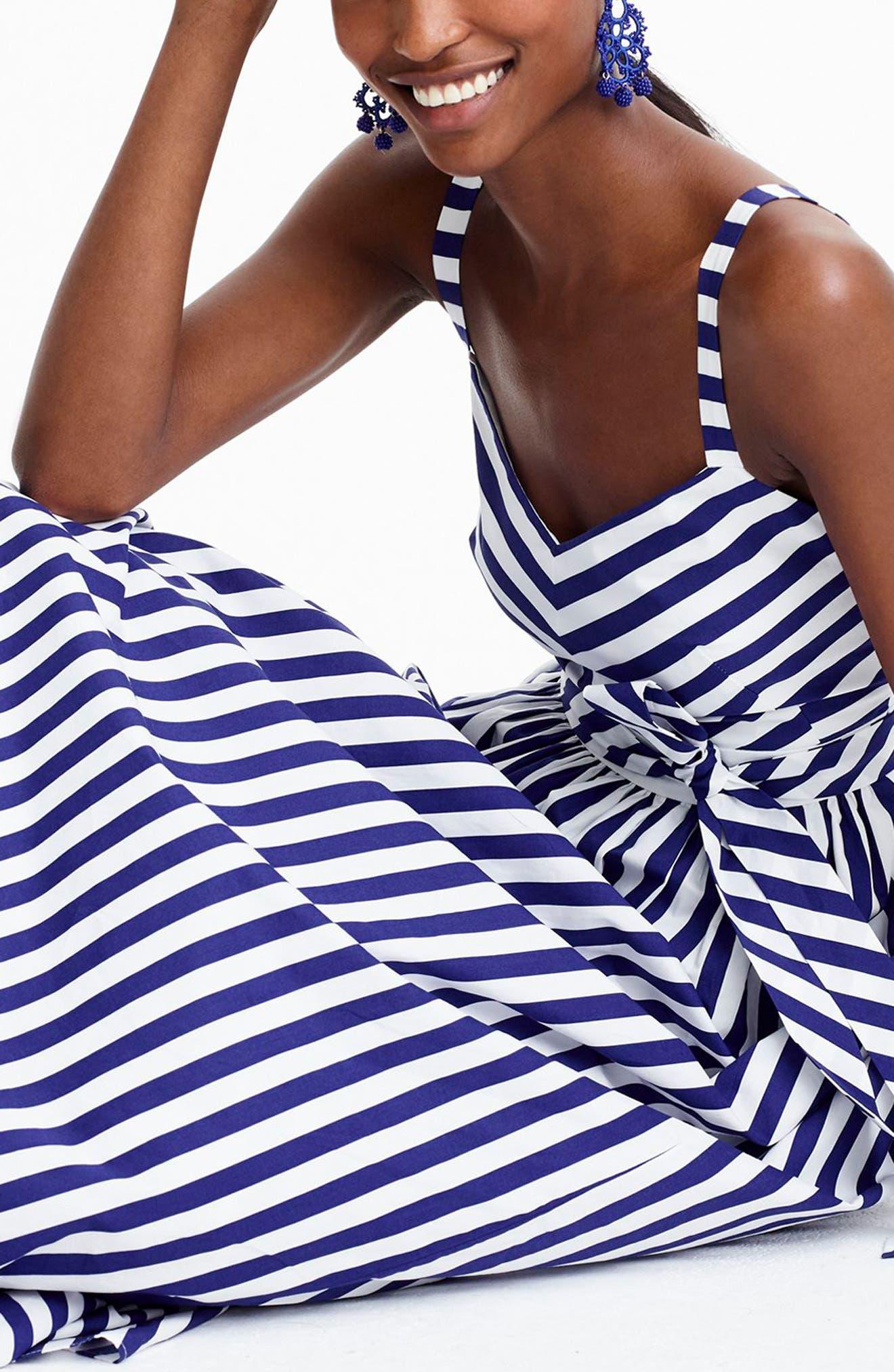 Stripe Ruffle Maxi Dress,                             Alternate thumbnail 5, color,                             400