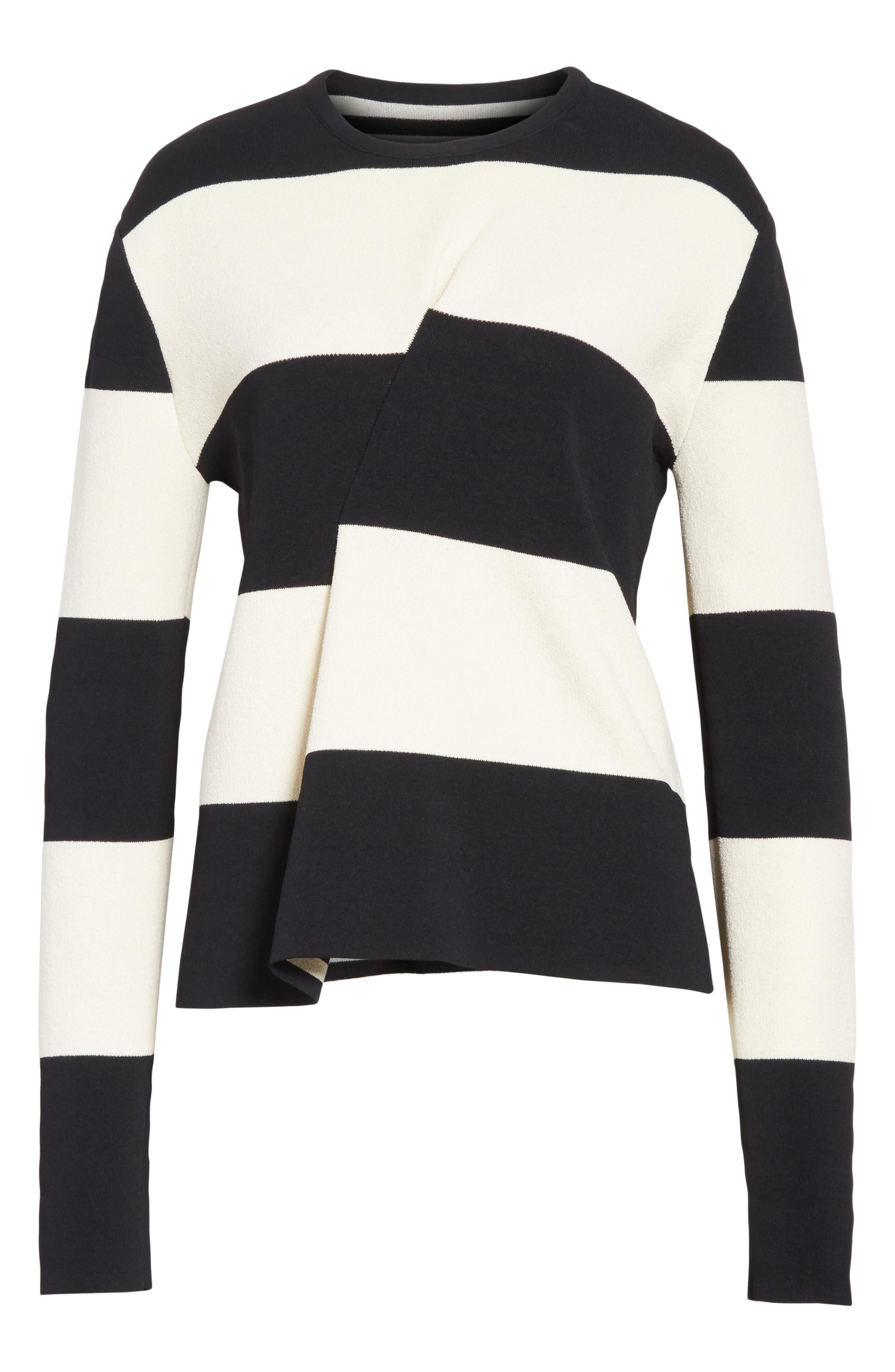 Folded Stripe Sweater,                             Alternate thumbnail 6, color,                             001