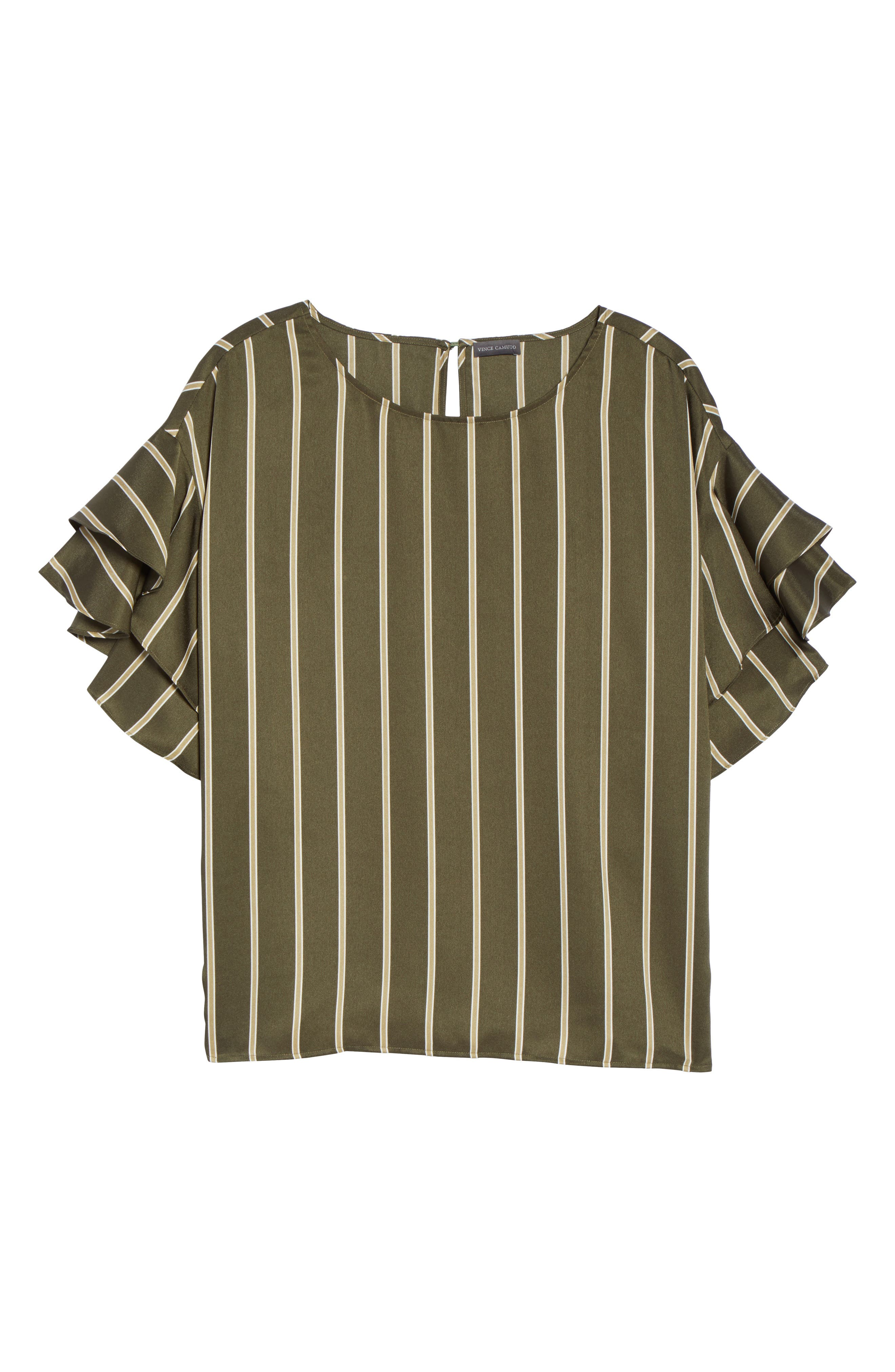 Tiered Ruffle Sleeve Stripe Top,                             Alternate thumbnail 6, color,                             360