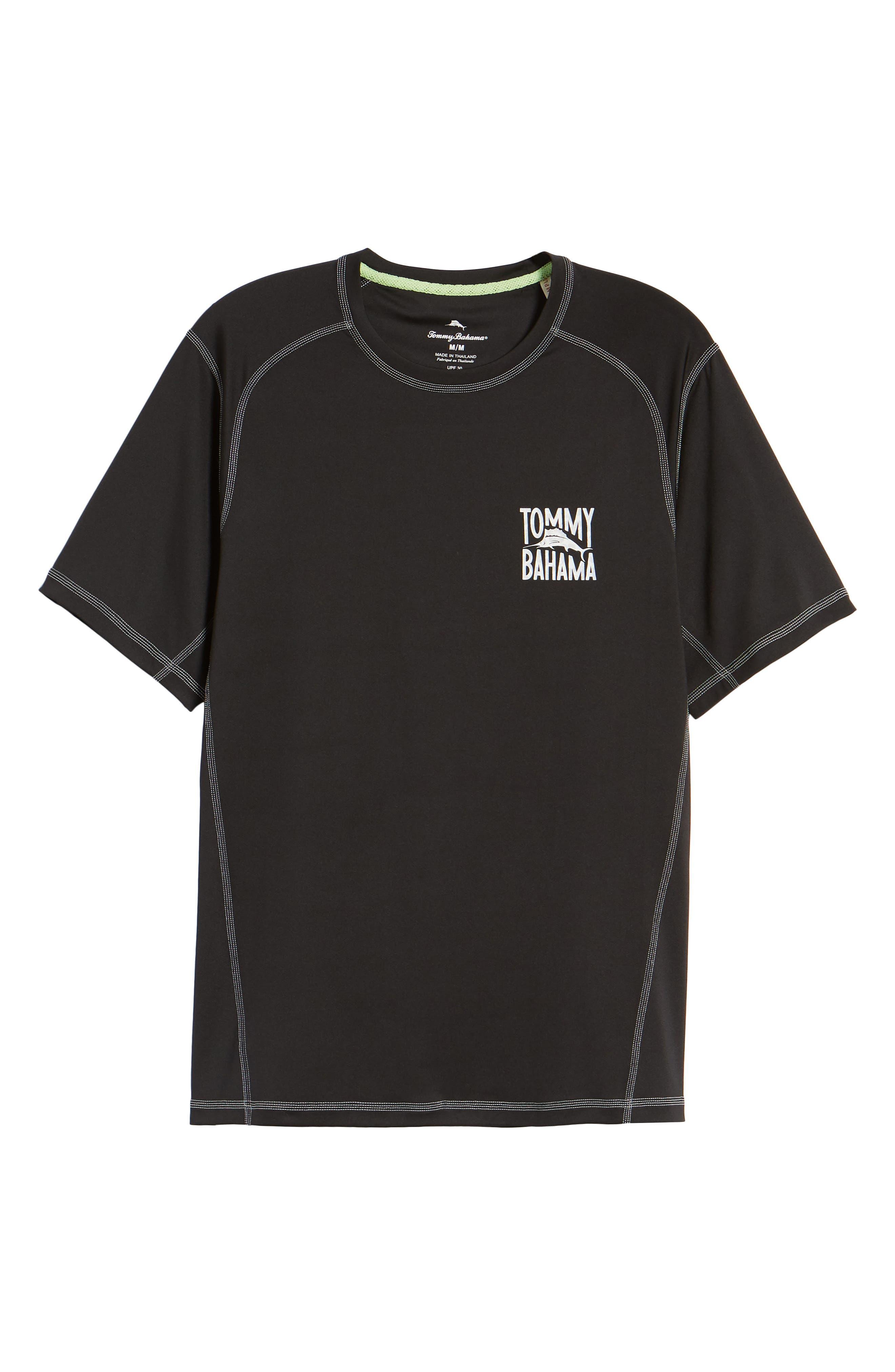 IslandActive<sup>™</sup> Beach Pro Rashguard T-Shirt,                             Alternate thumbnail 6, color,                             BLACK