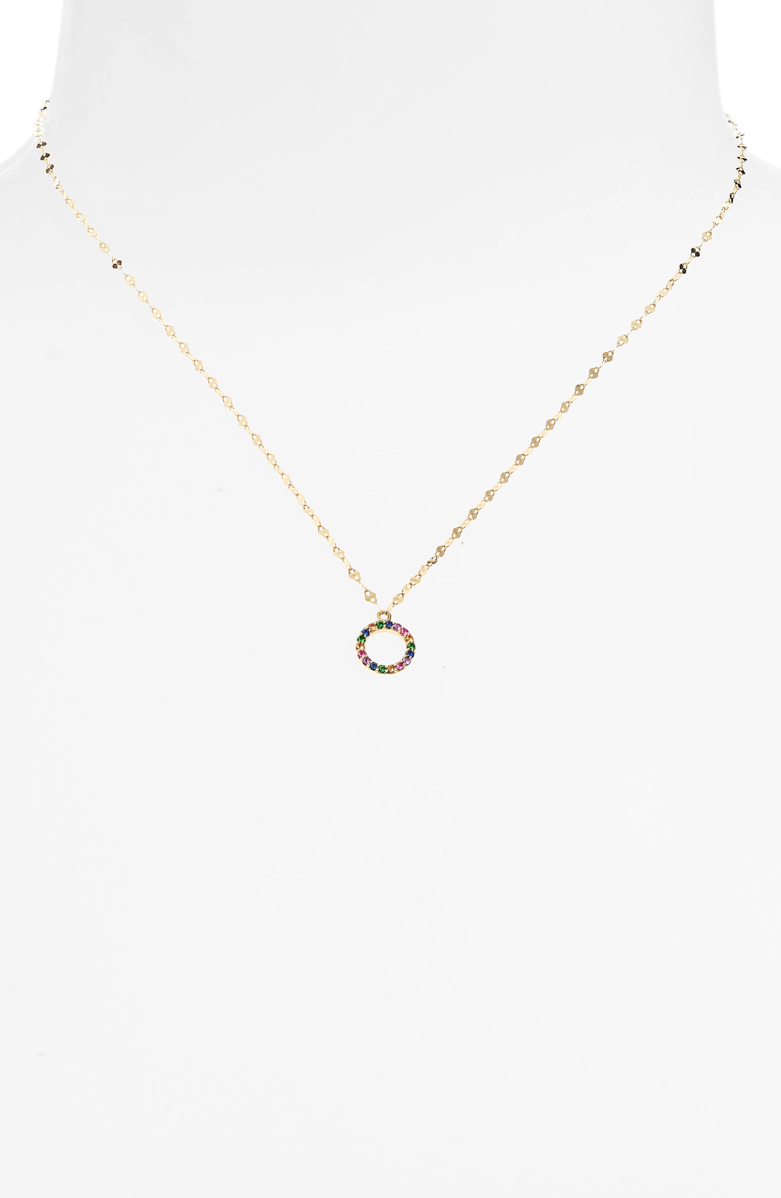 Mini Circle Sapphire Pendant Necklace,                             Alternate thumbnail 2, color,                             710
