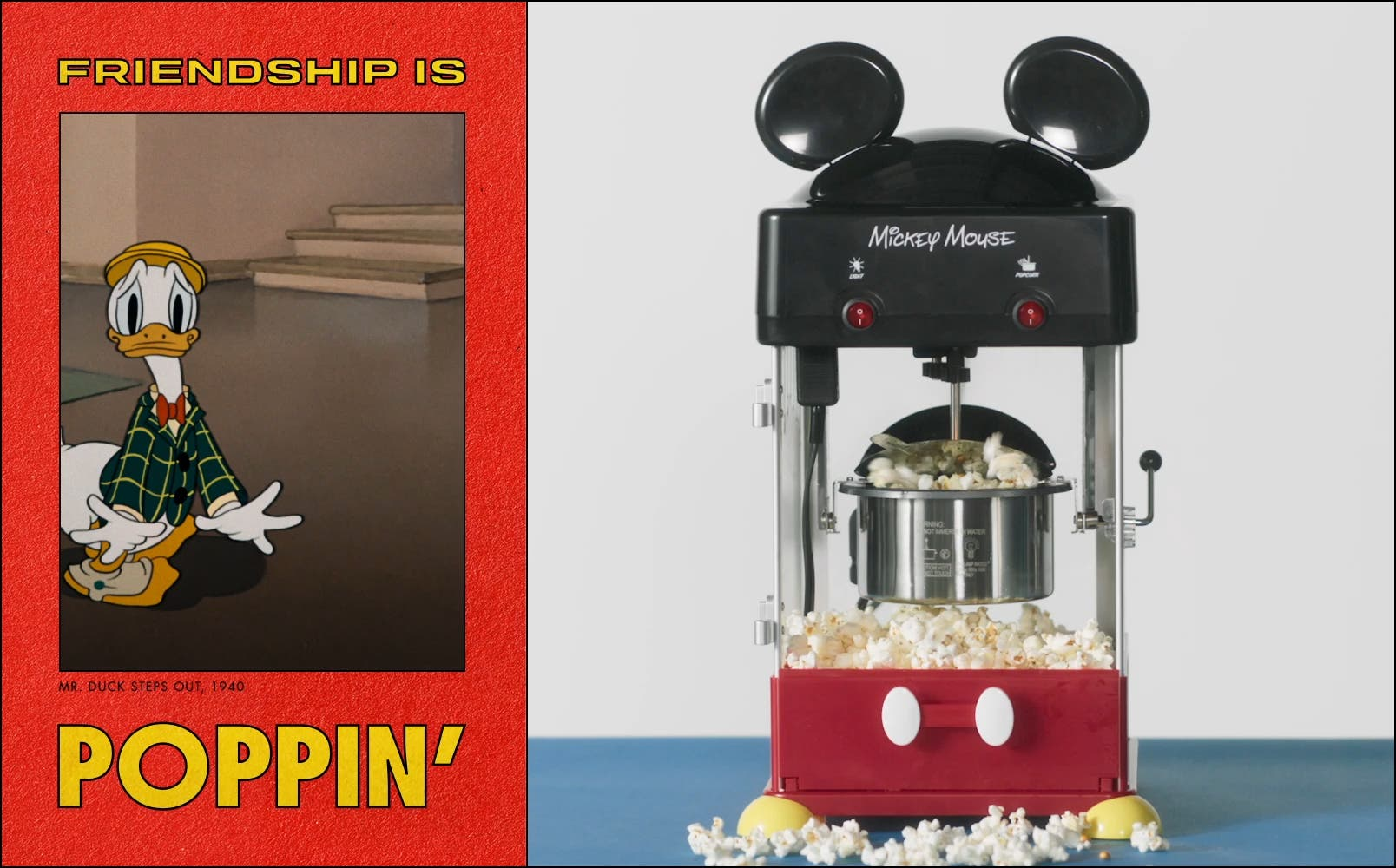 Video of Mickey Mouse popcorn maker; video of Donald Duck with popcorn.