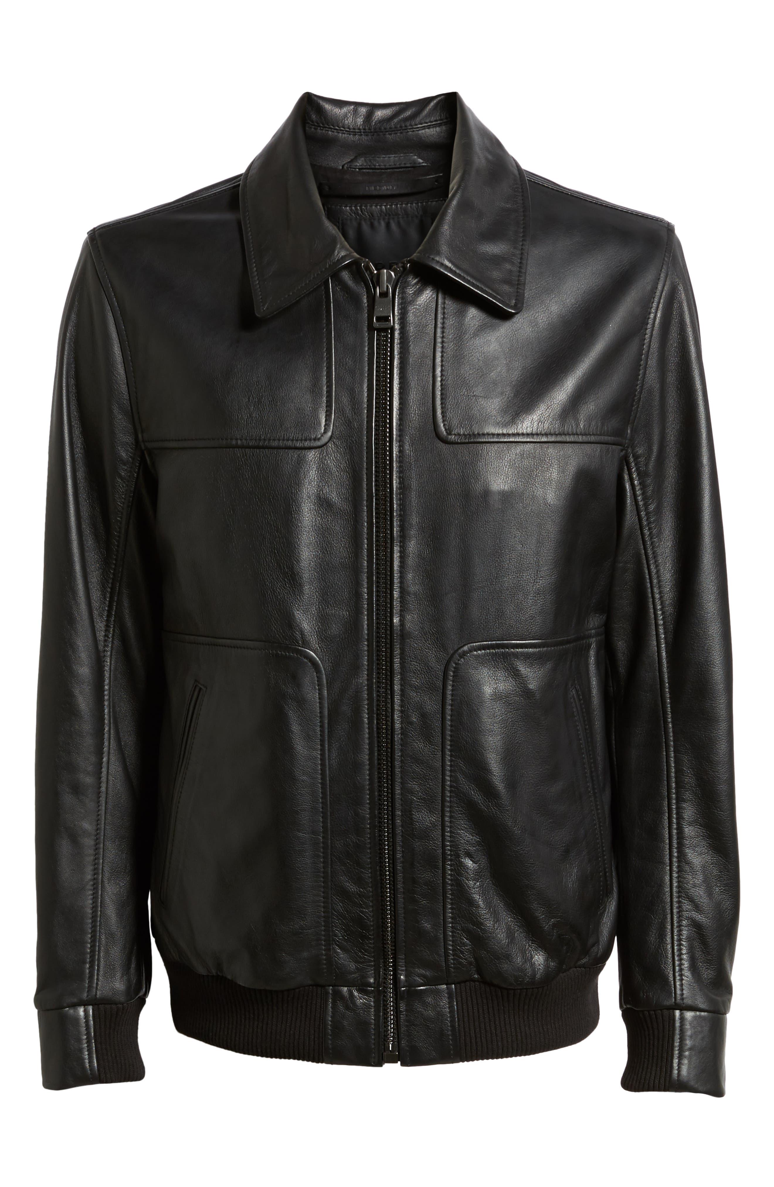 ANDREW MARC,                             Vaughn Shirt Collar Leather Bomber Jacket,                             Alternate thumbnail 5, color,                             BLACK