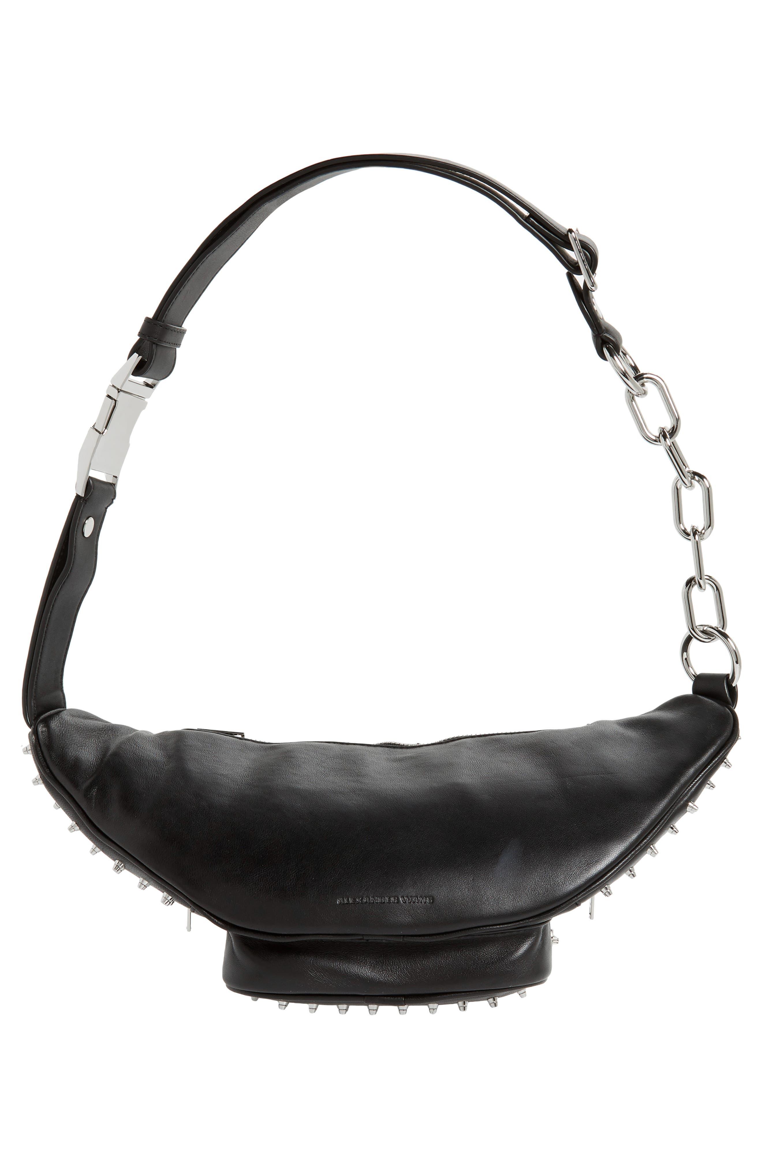 Attica Studded Lambskin Leather Fanny Pack,                             Alternate thumbnail 7, color,                             BLACK