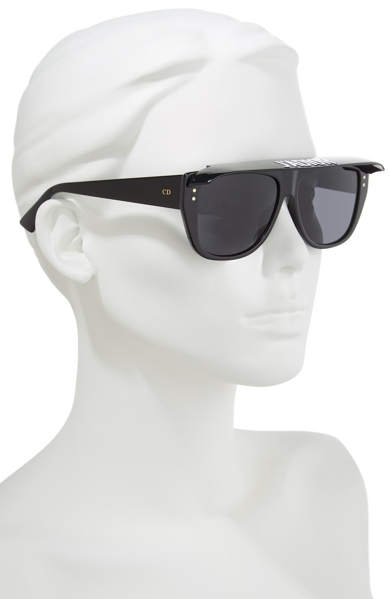 DiorClub2S 56mm Square Sunglasses with Removable Visor,                             Alternate thumbnail 2, color,                             BLACK