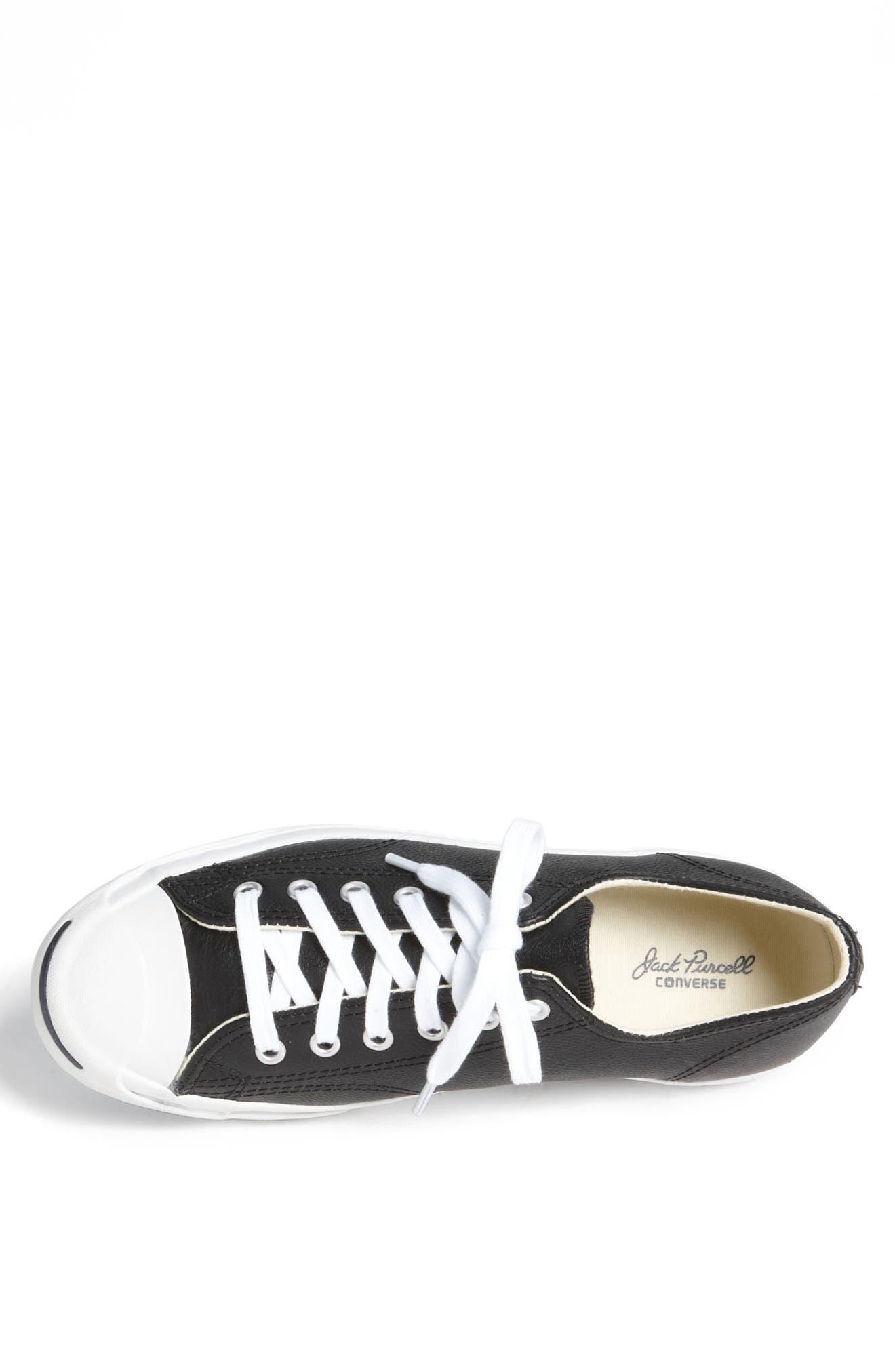 'Jack Purcell' Leather Sneaker,                             Alternate thumbnail 3, color,                             BLACK/ WHITE