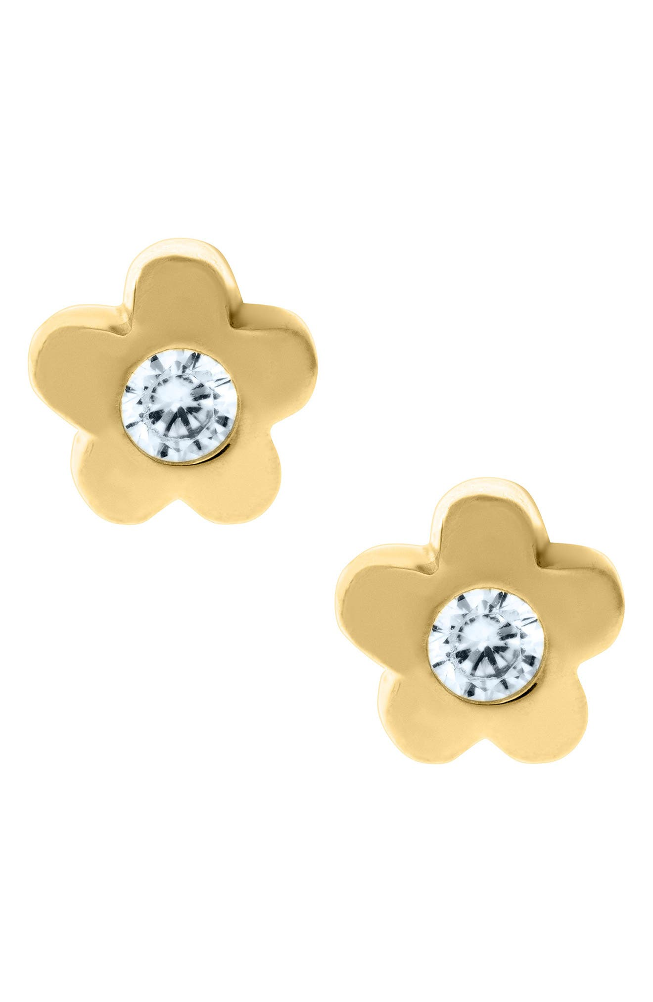 14k Gold & Cubic Zirconia Flower Earrings,                             Main thumbnail 1, color,                             GOLD