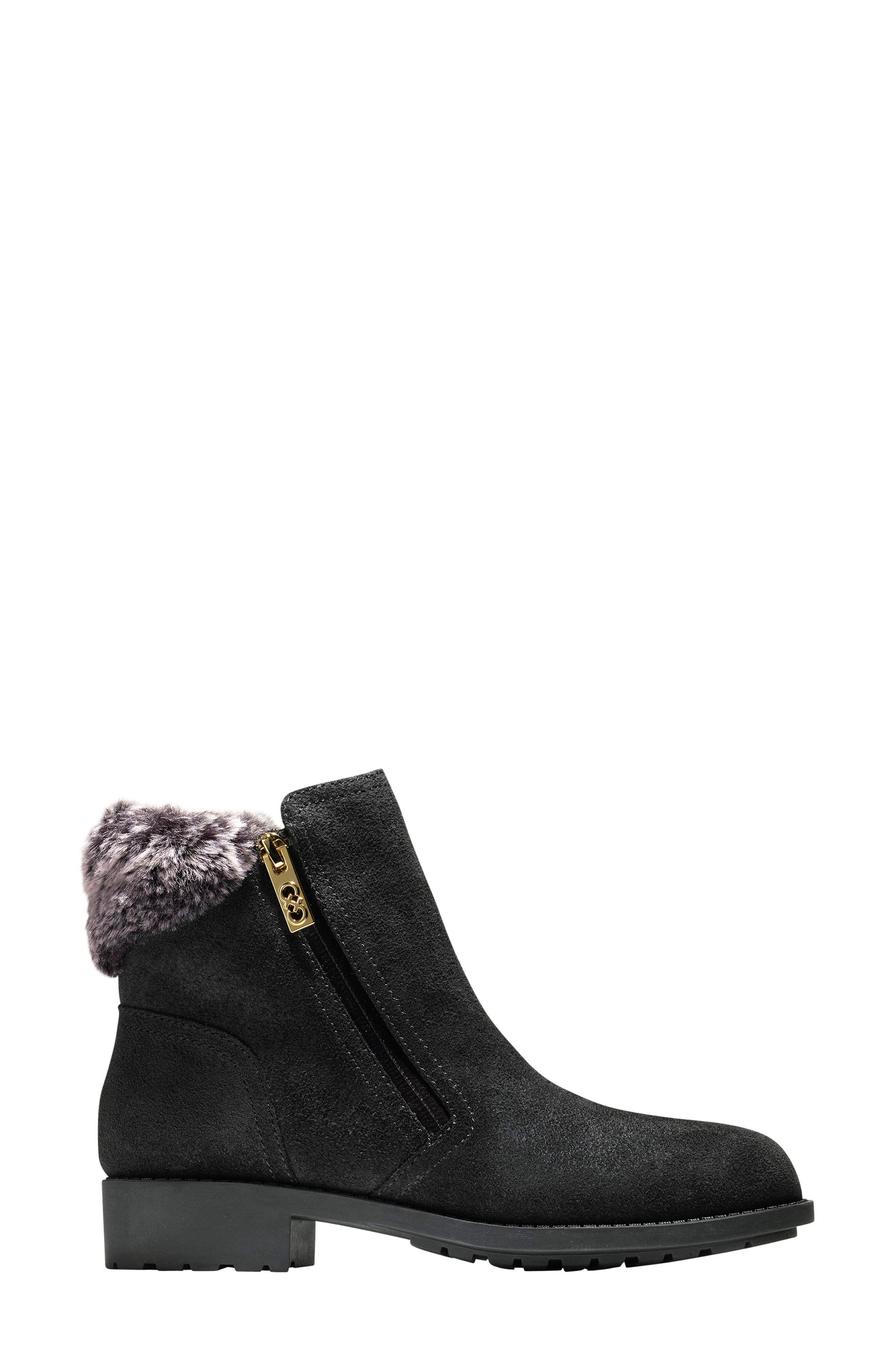 Quinney Waterproof Bootie with Faux Shearling Trim,                             Alternate thumbnail 2, color,                             001