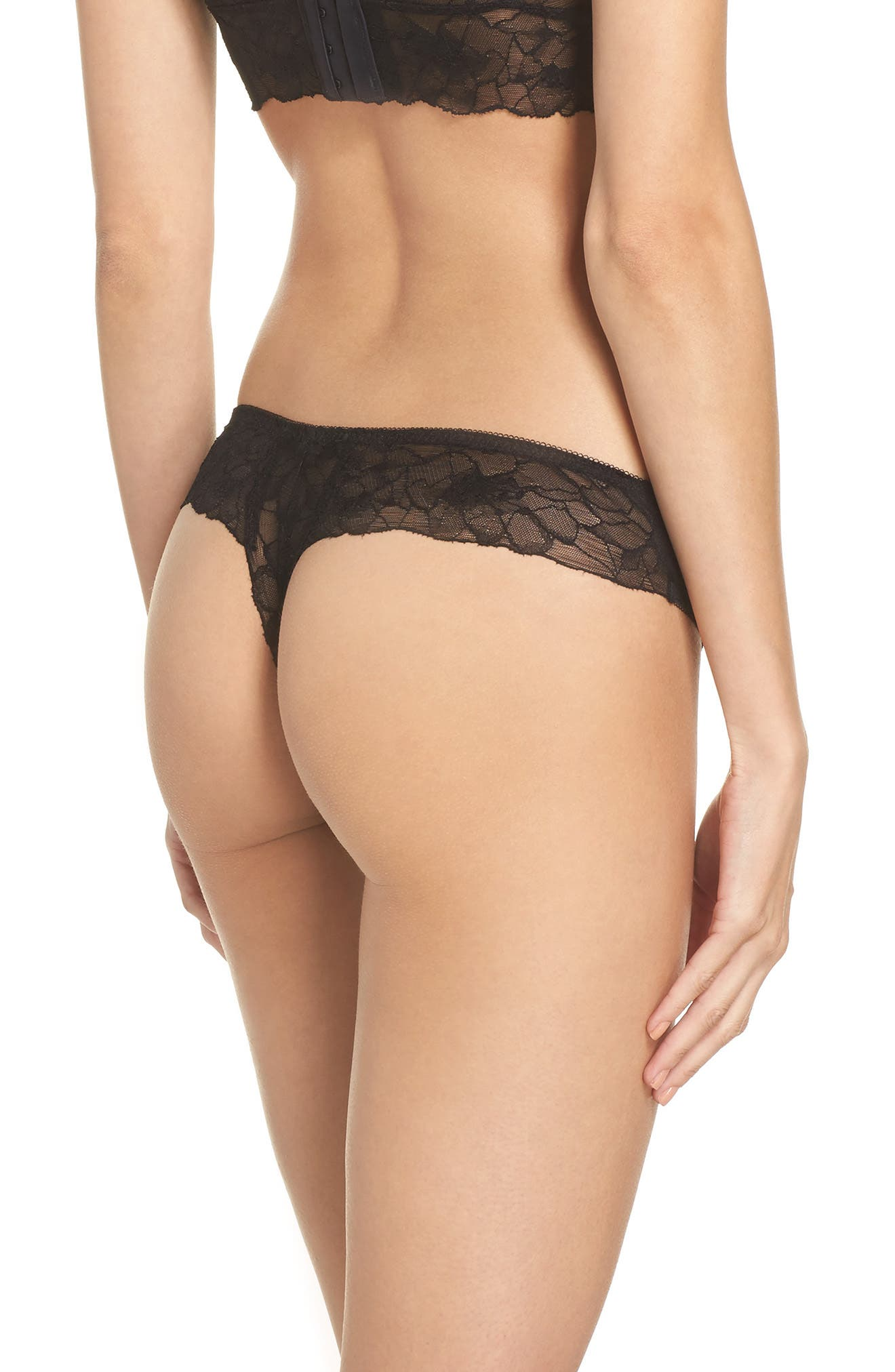All Lace Glamour Lace Thong,                             Alternate thumbnail 2, color,                             BLACK