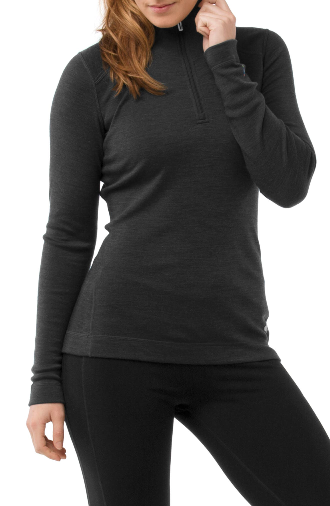Merino 250 Base Pattern Layer Quarter Zip Top,                         Main,                         color, CHARCOAL HEATHER