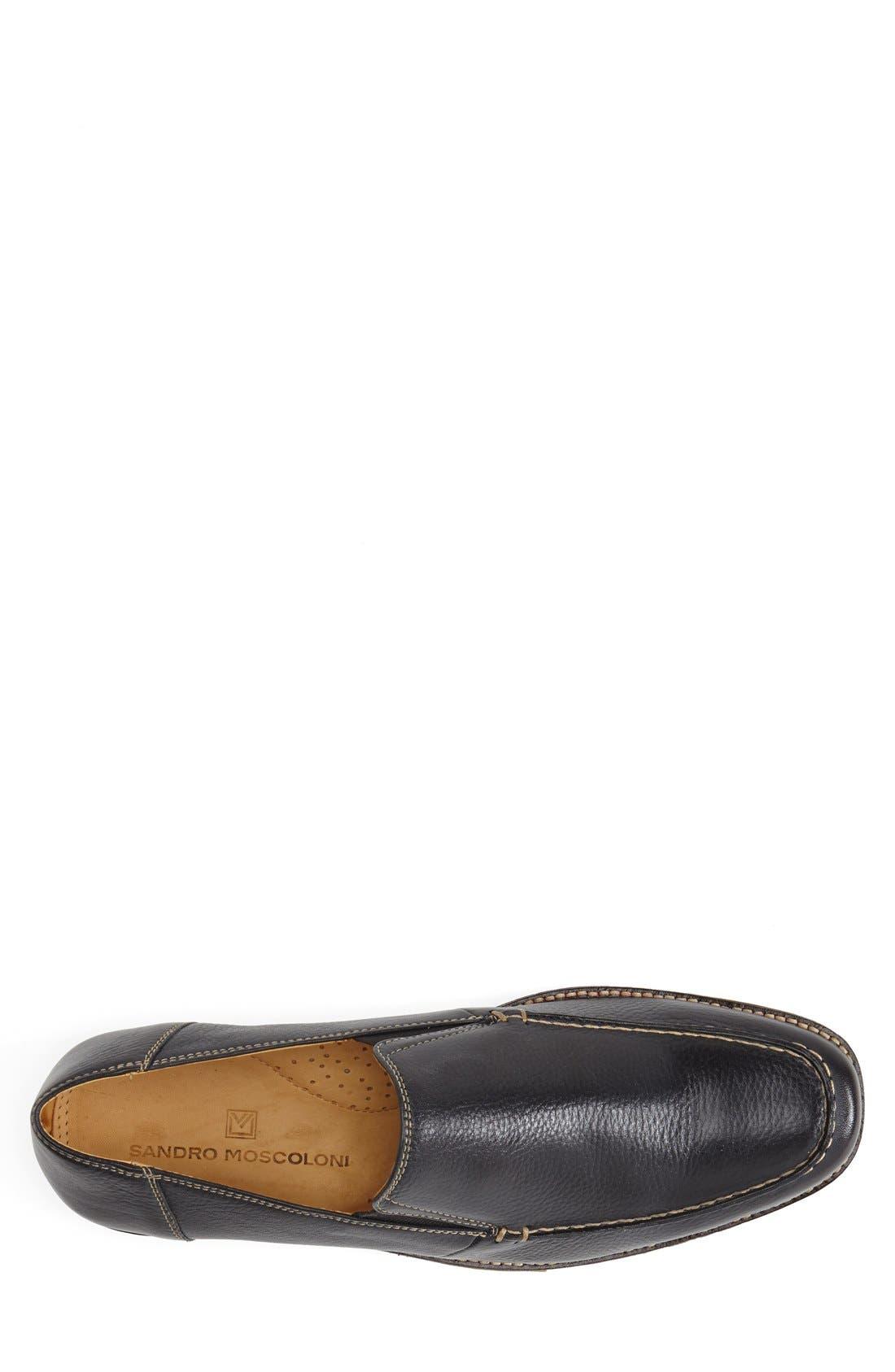'Easy' Leather Venetian Loafer,                             Alternate thumbnail 3, color,                             NAVY