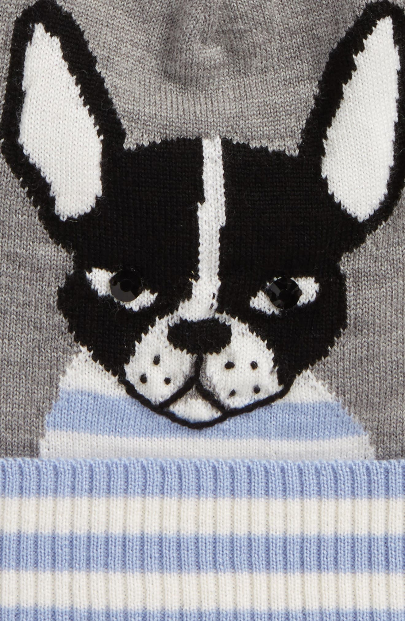 intarsia french bulldog wool beanie,                             Alternate thumbnail 3, color,