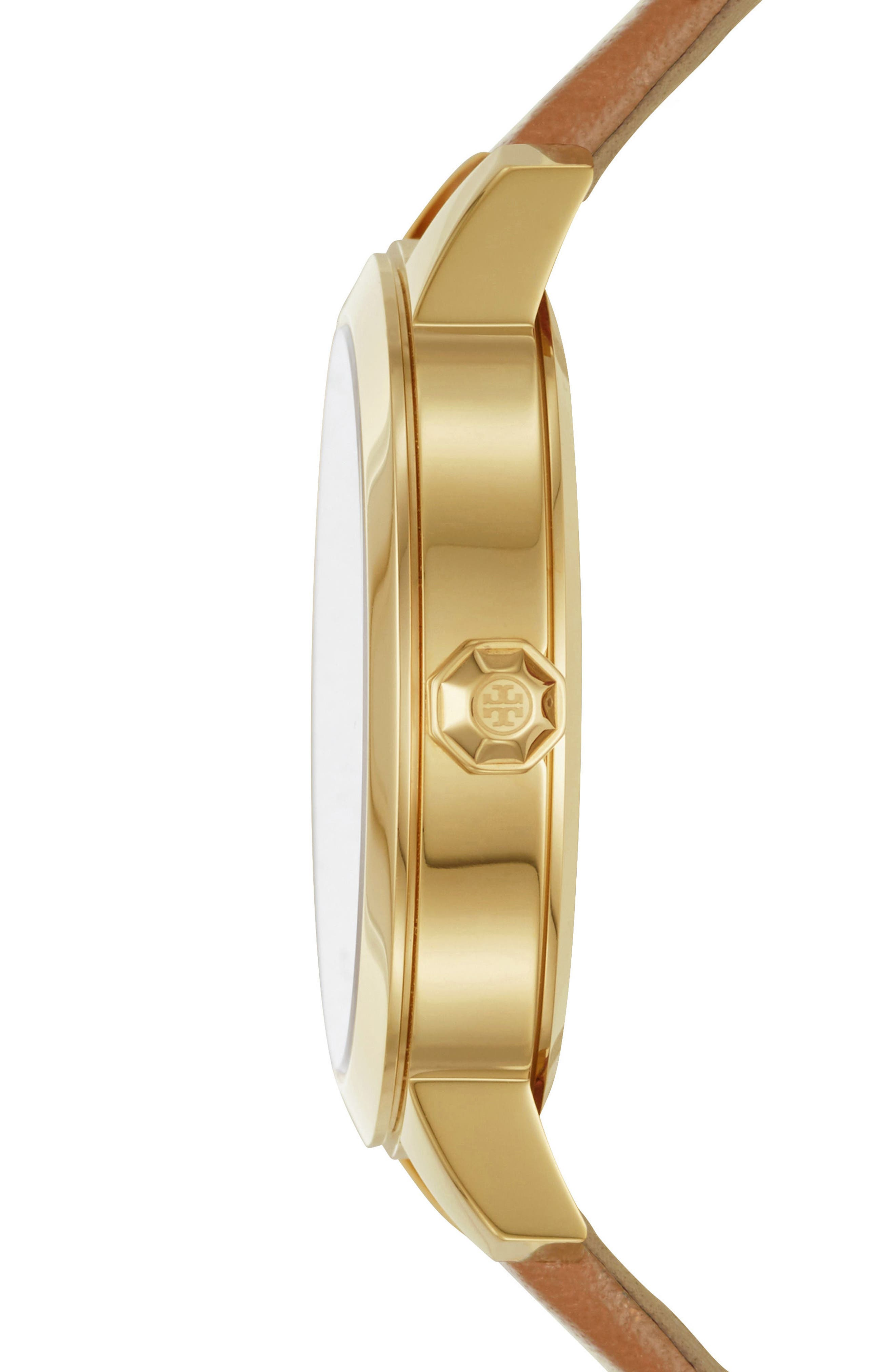 Collins Leather Strap Watch, 38mm,                             Alternate thumbnail 2, color,                             LUGGAGE/ IVORY/ GOLD