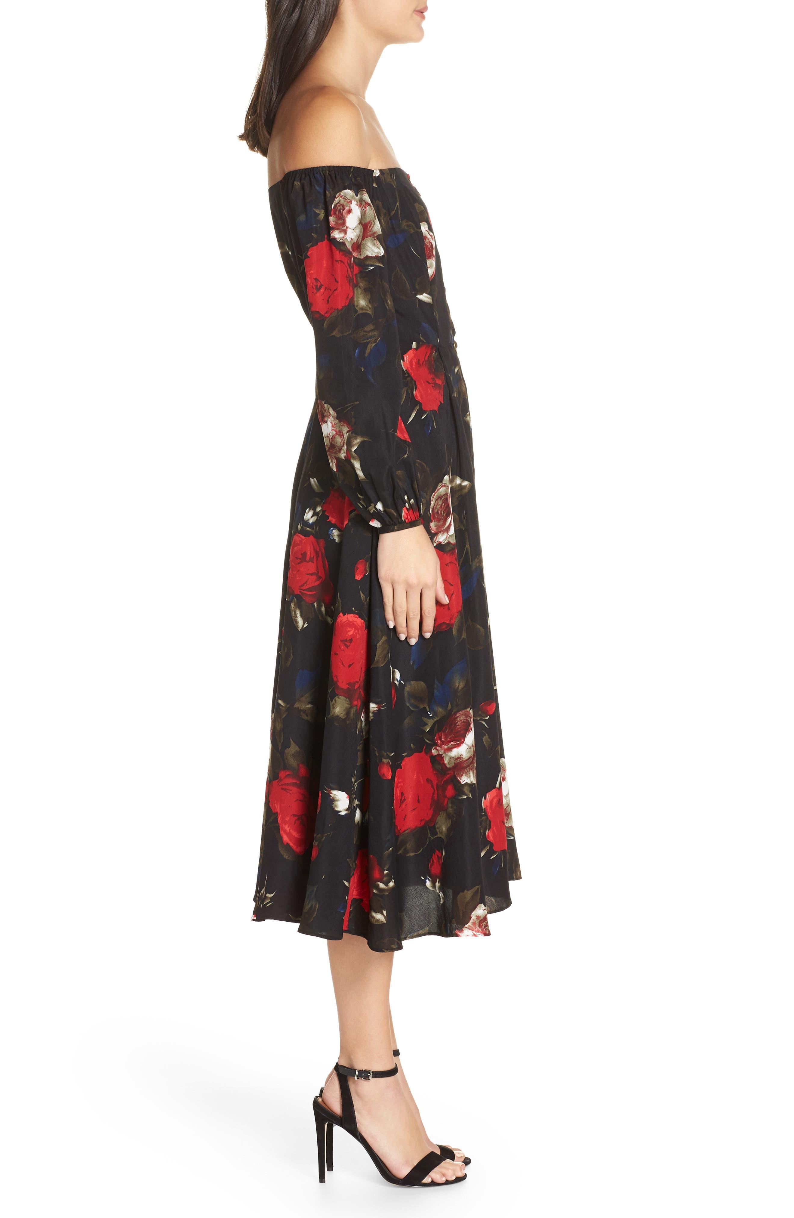 Off the Shoulder Midi Dress,                             Alternate thumbnail 4, color,                             BLACK LUSH ROSE FLORAL