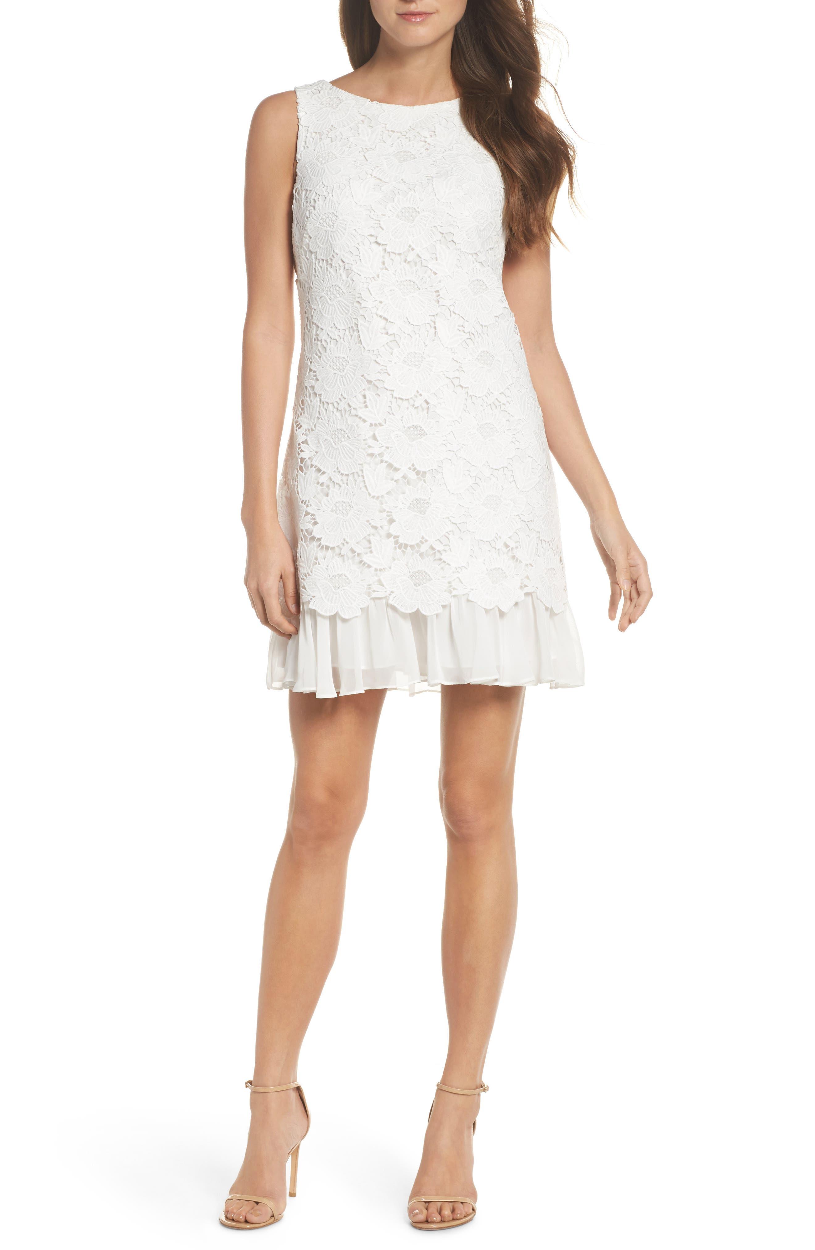 Lace Ruffle Hem Sheath Dress,                             Main thumbnail 2, color,