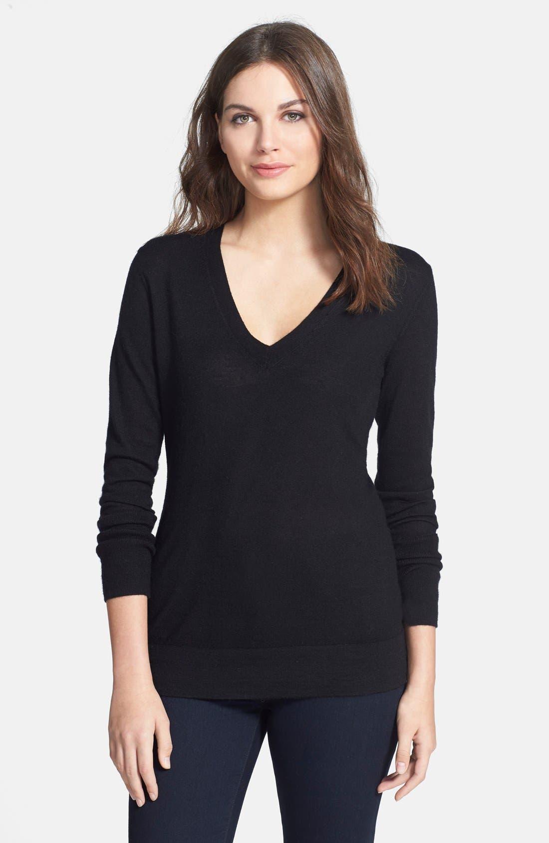Deep V-Neck Cashmere Sweater,                             Main thumbnail 1, color,                             001