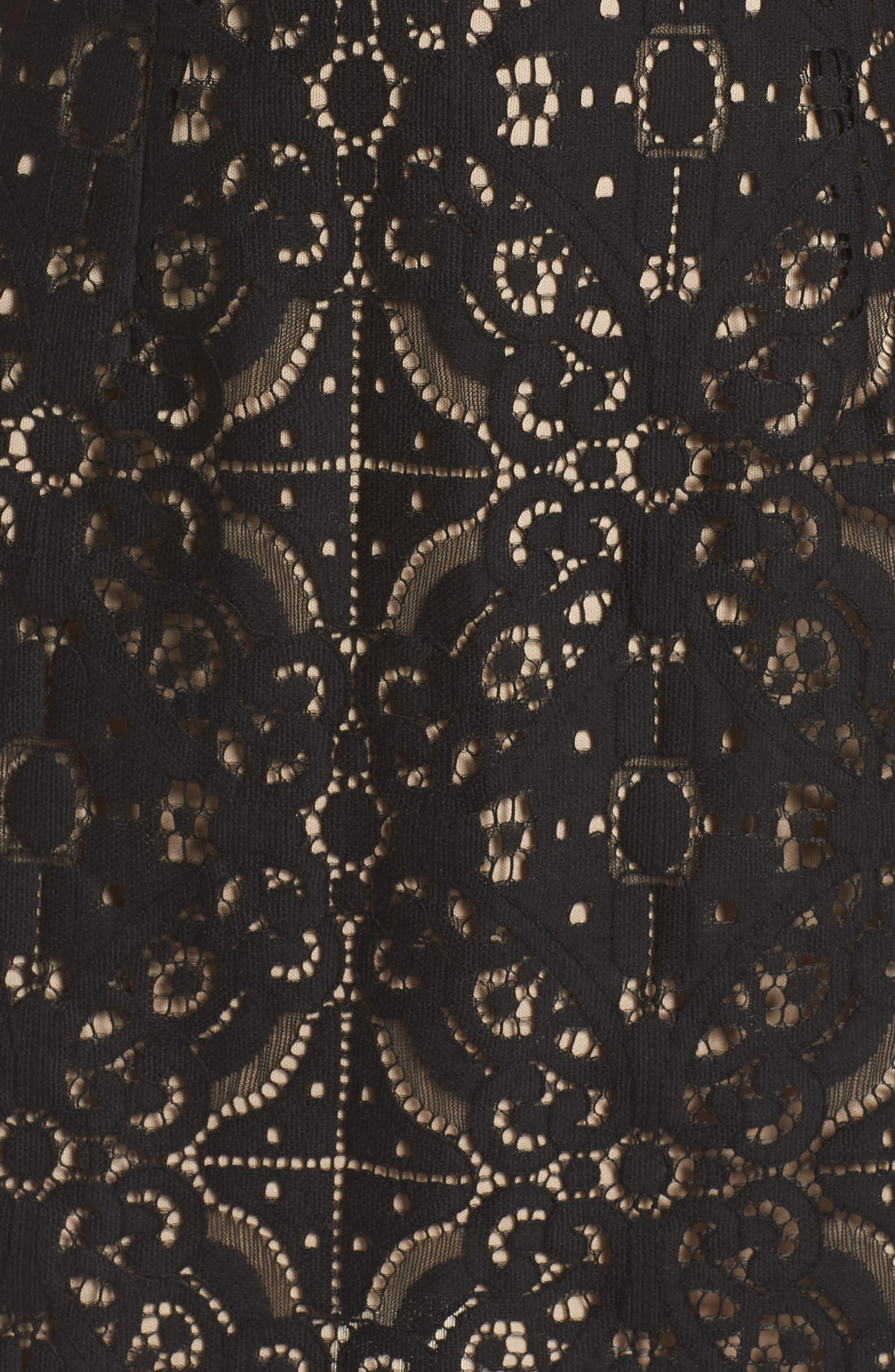 Brittney Ruffle Sleeve Lace Dress,                             Alternate thumbnail 6, color,                             BLACK