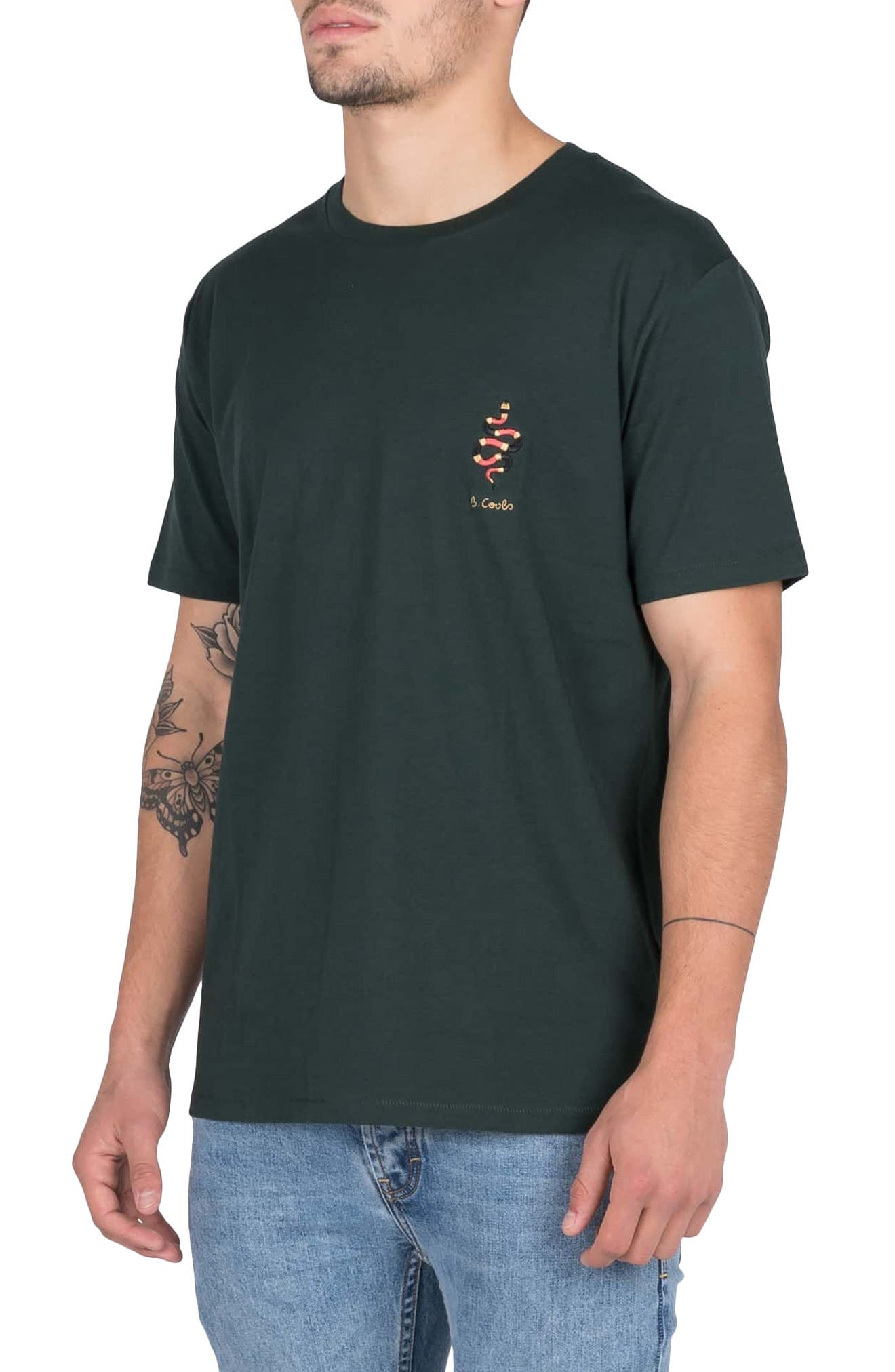 Embroidered Snake T-Shirt,                             Alternate thumbnail 3, color,                             FOREST