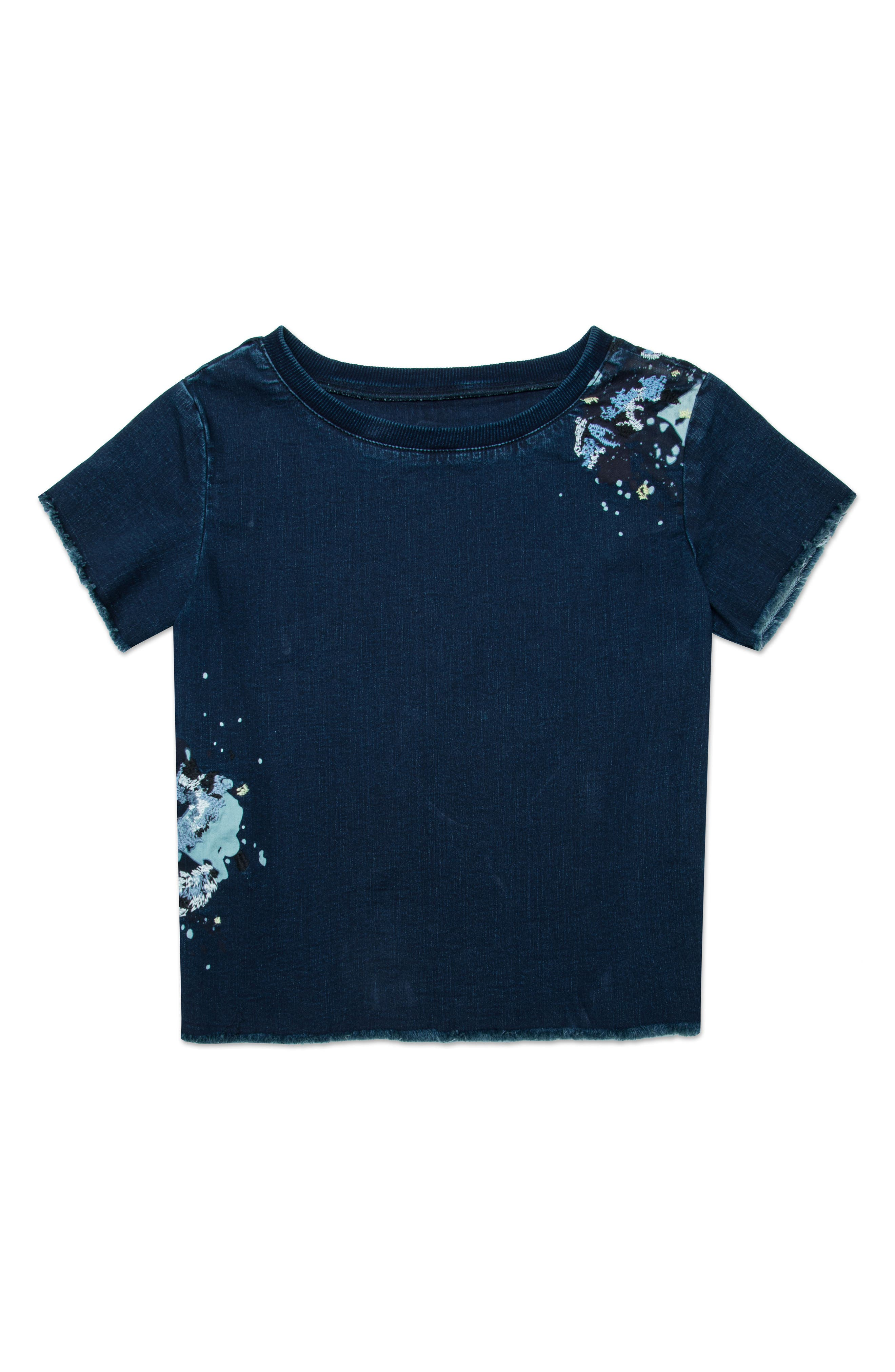 Embroidered Denim Top,                             Main thumbnail 1, color,