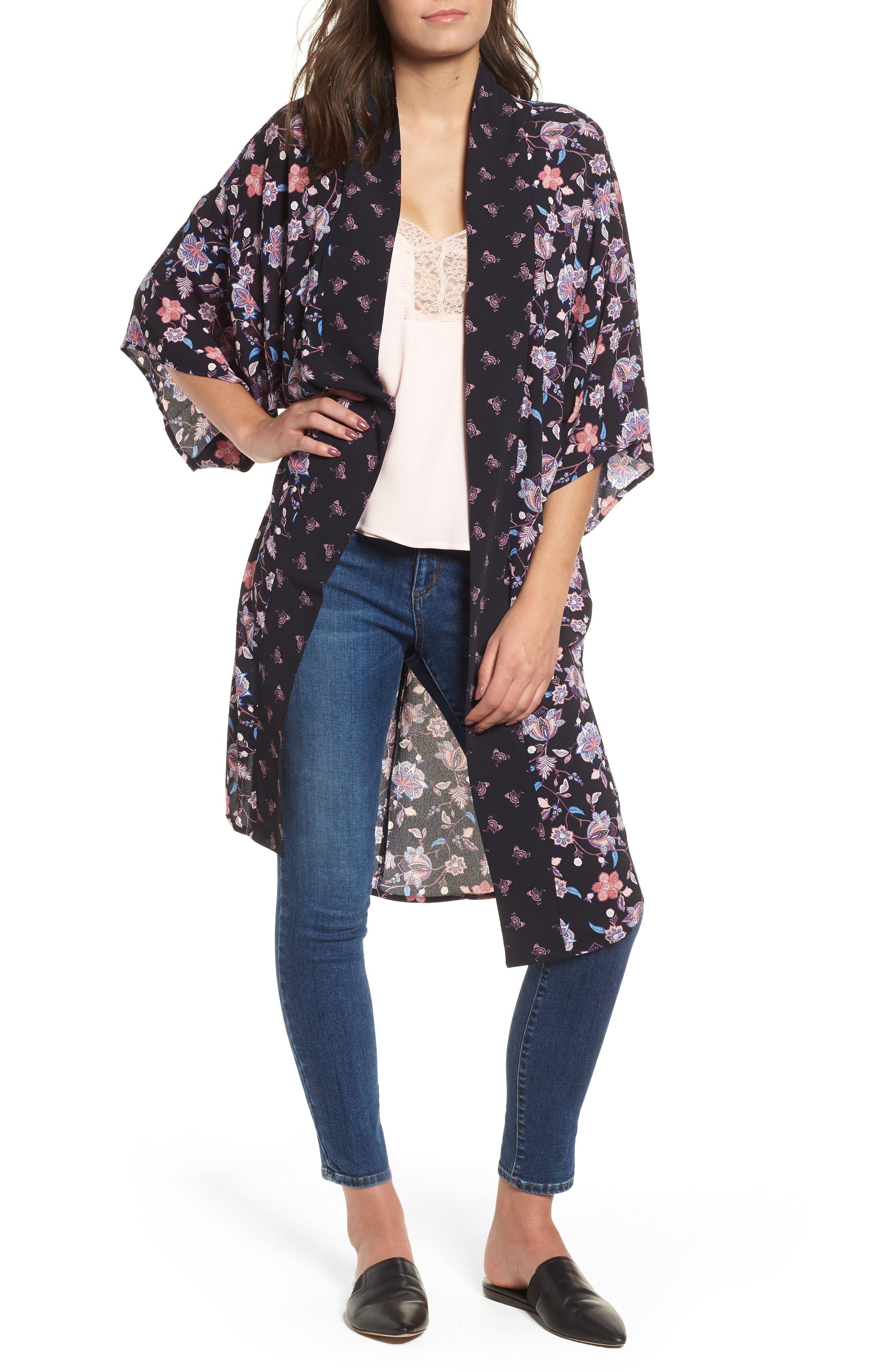 Print Kimono,                         Main,                         color, NAVY COMBO