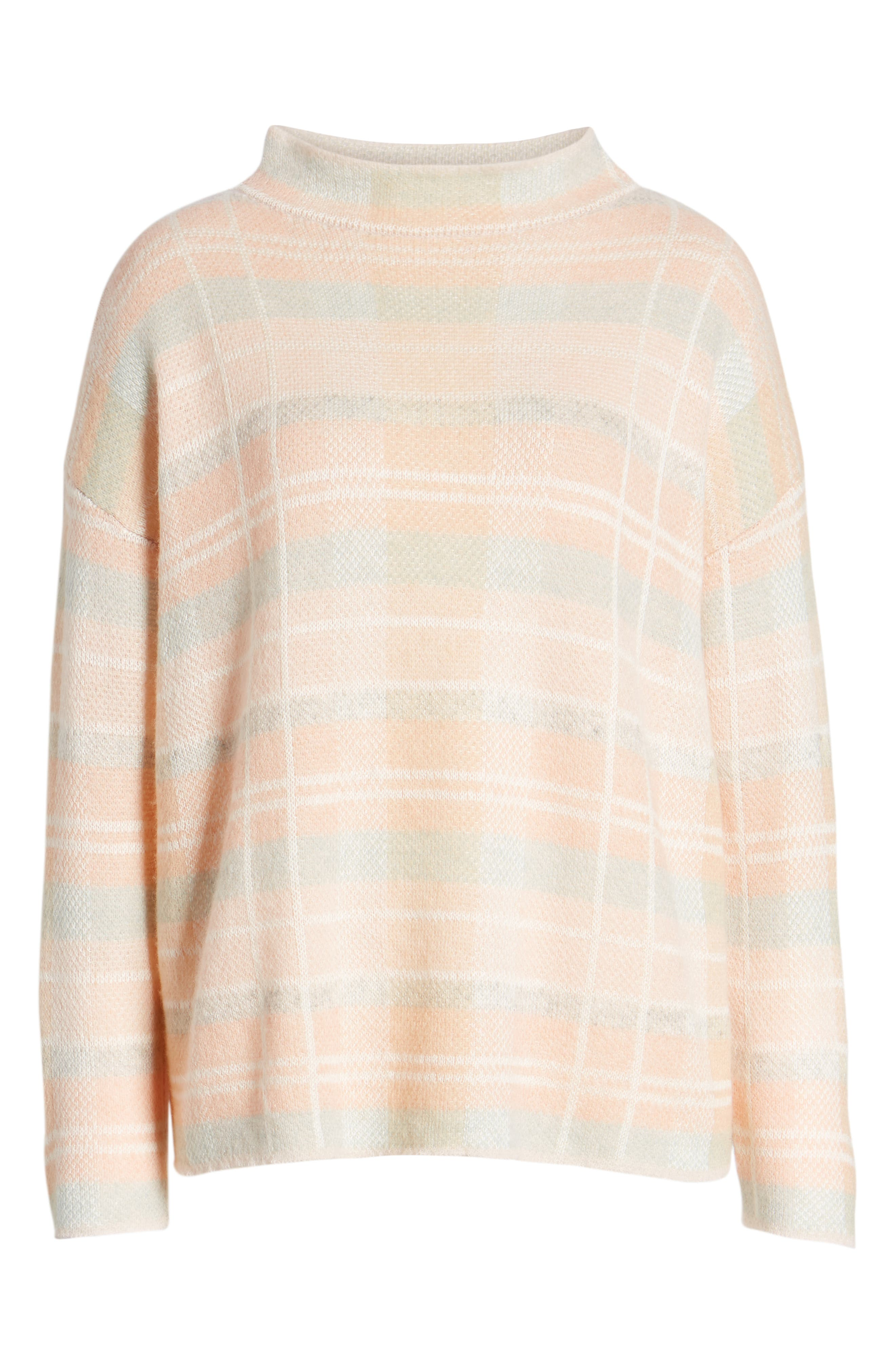 Plaid Mock Neck Sweater,                             Alternate thumbnail 6, color,                             PINK PLAID AS SWATCH