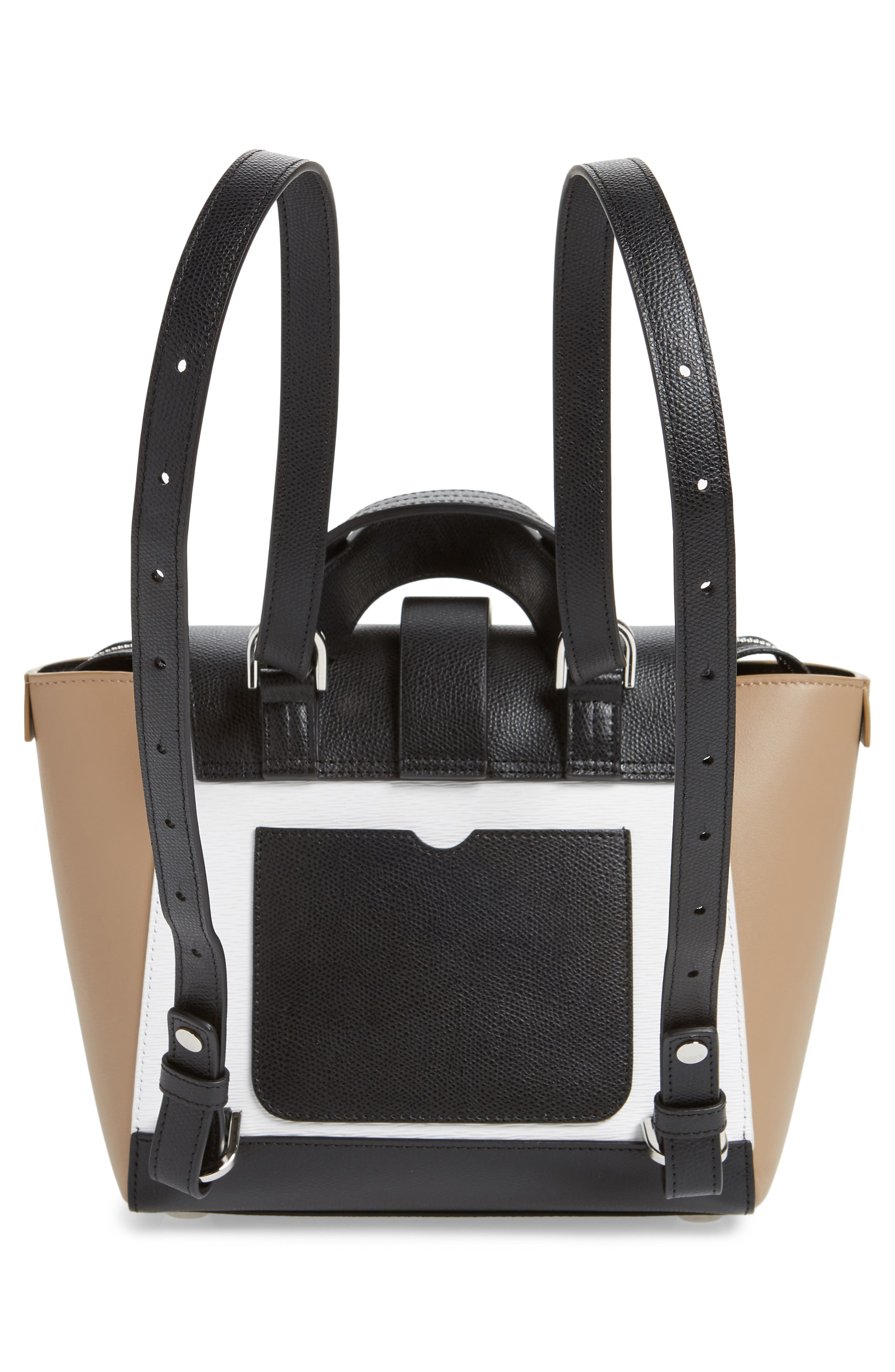 Mini Maestra Colorblock Leather Satchel,                             Alternate thumbnail 4, color,                             BLACK/ WHITE/ CHESTNUT
