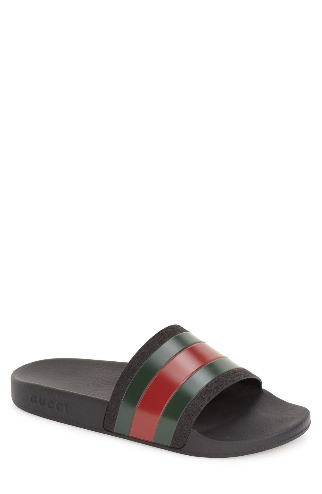 Pursuit Rubber Slide Sandal,                             Main thumbnail 1, color,                             BLACK