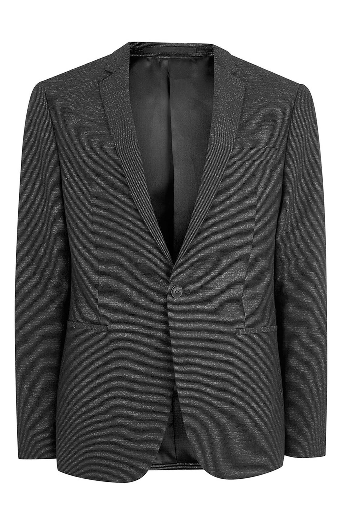 Skinny Fit Stripe Suit Jacket,                             Alternate thumbnail 4, color,                             001