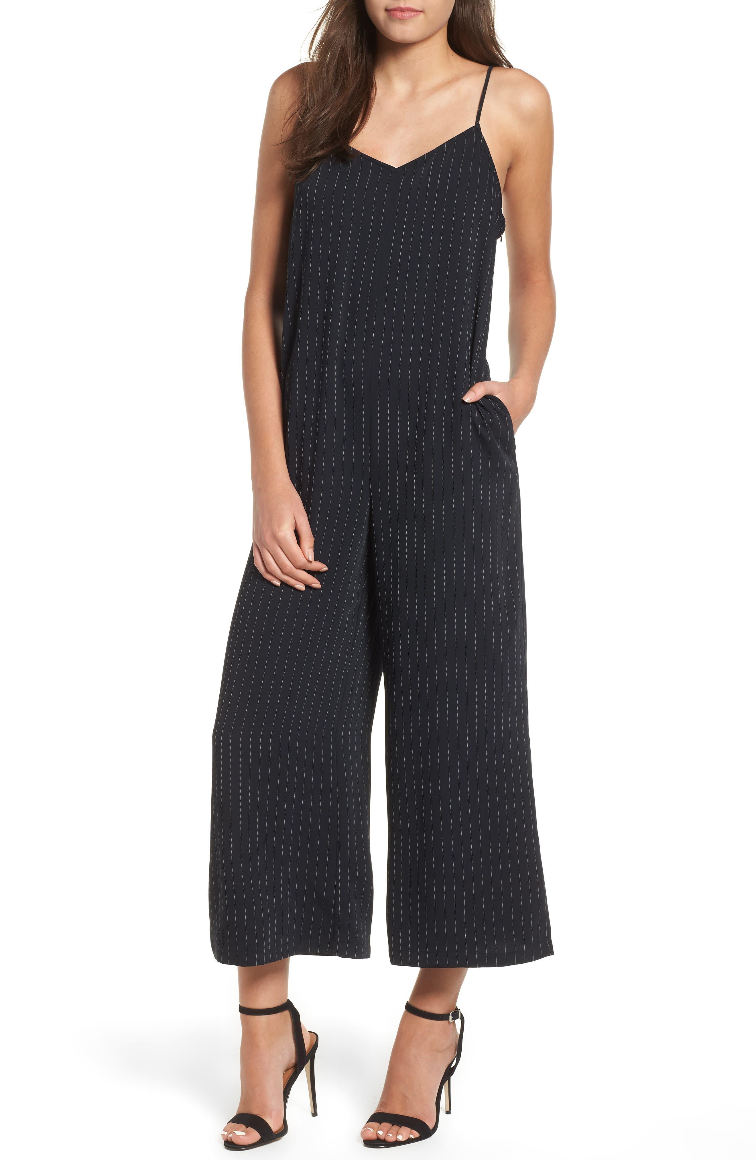 Crop Jumpsuit,                         Main,                         color, BLACK DOTTED PINSTRIPE