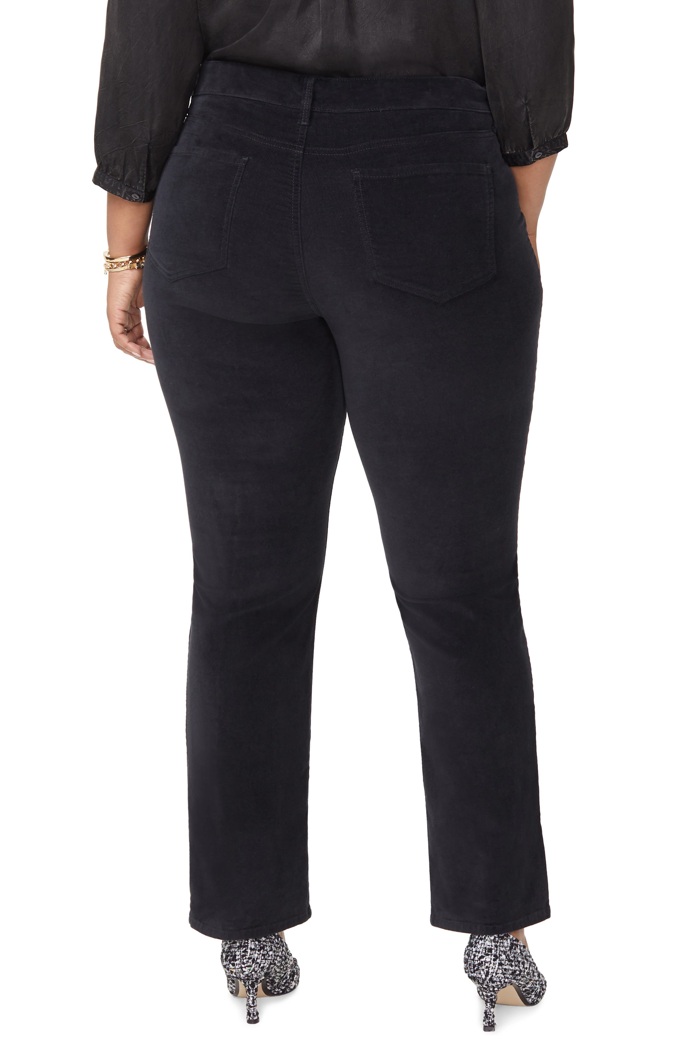 Marilyn Straight Leg Stretch Velvet Pants,                             Alternate thumbnail 2, color,                             BLACK