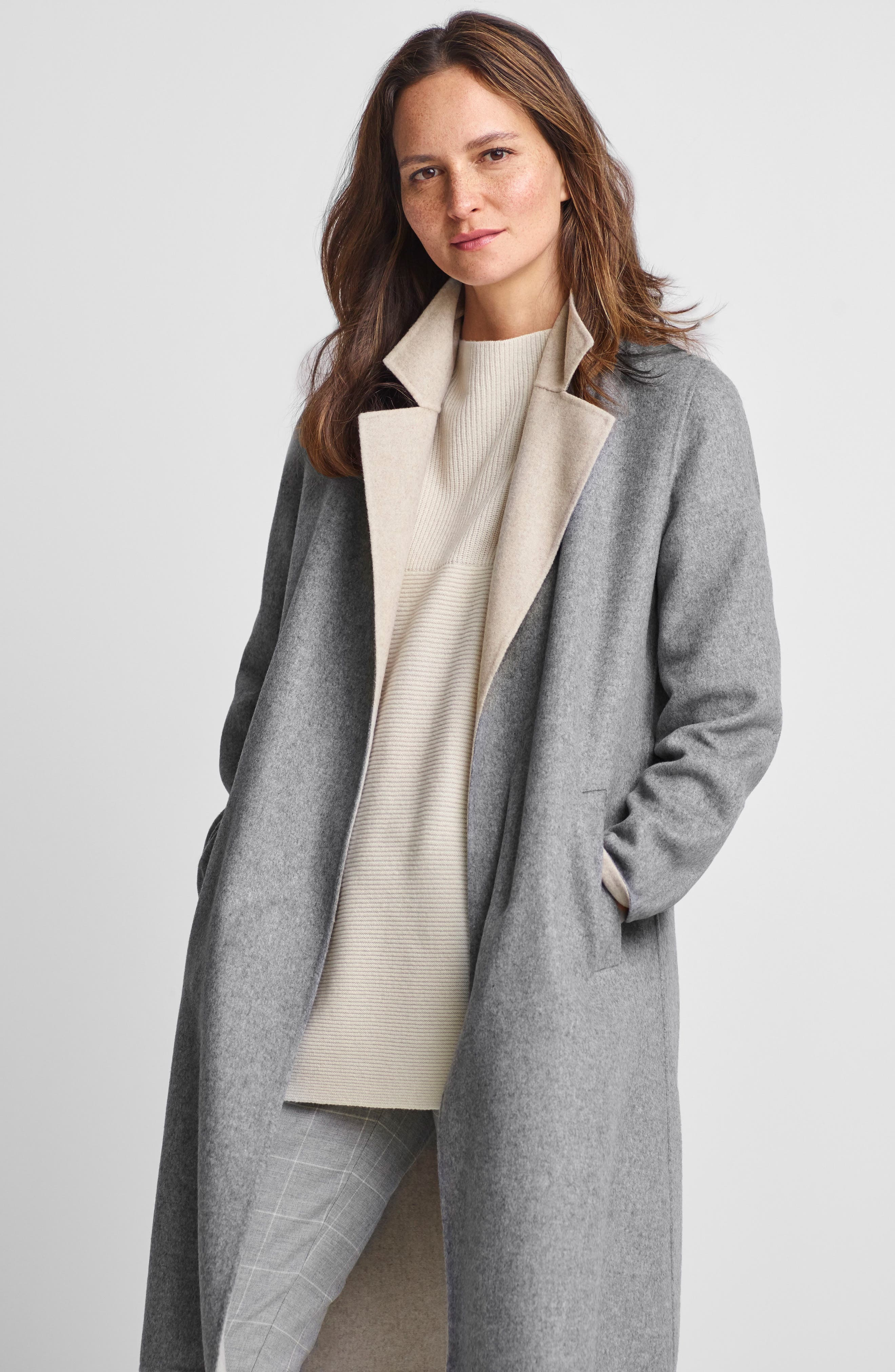 Notch Collar Long Wool Blend Jacket,                             Alternate thumbnail 7, color,                             252