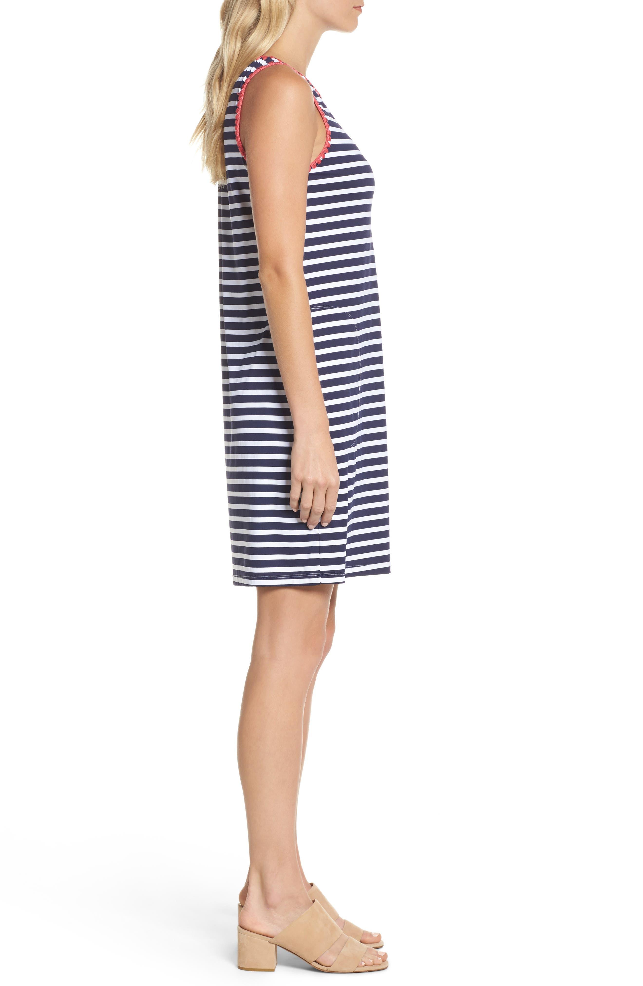 Breton Stripe Cover-Up Dress,                             Alternate thumbnail 3, color,                             MARE NAVY/ WHITE