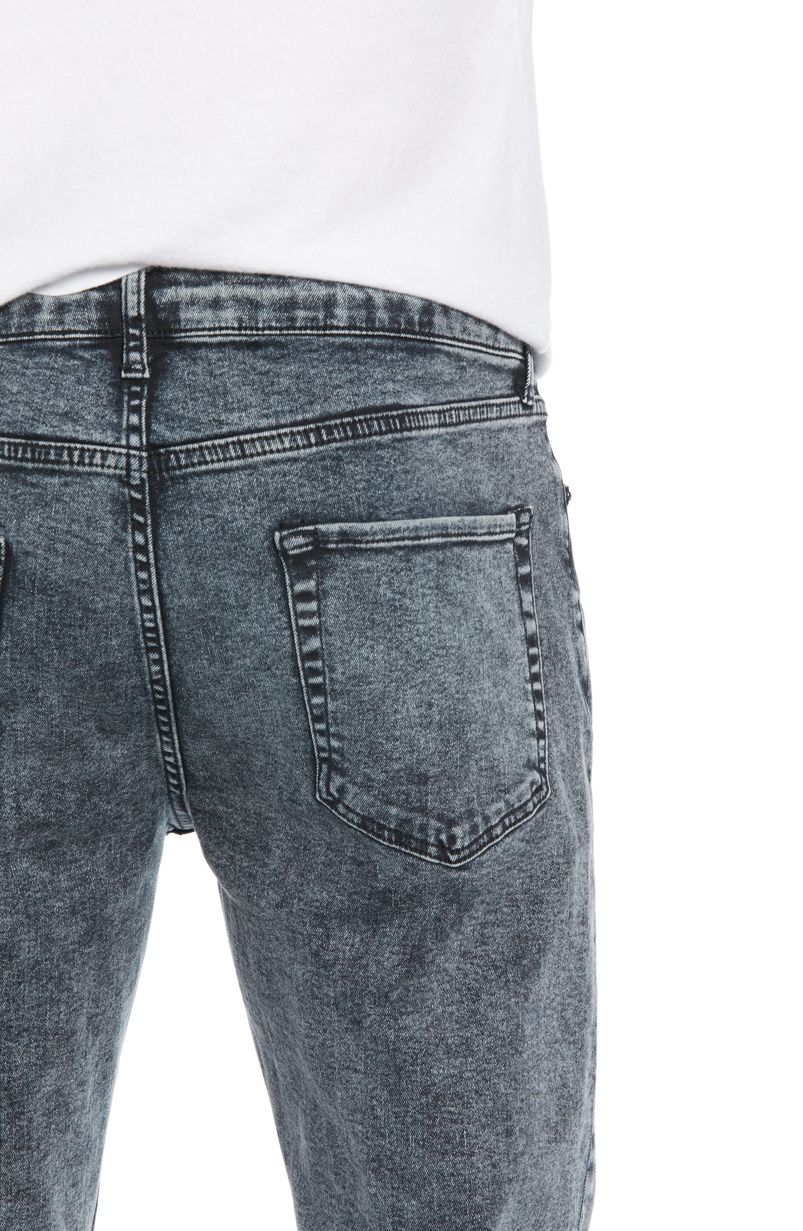 Acid Wash Stretch Skinny Jeans,                             Alternate thumbnail 4, color,                             GREY