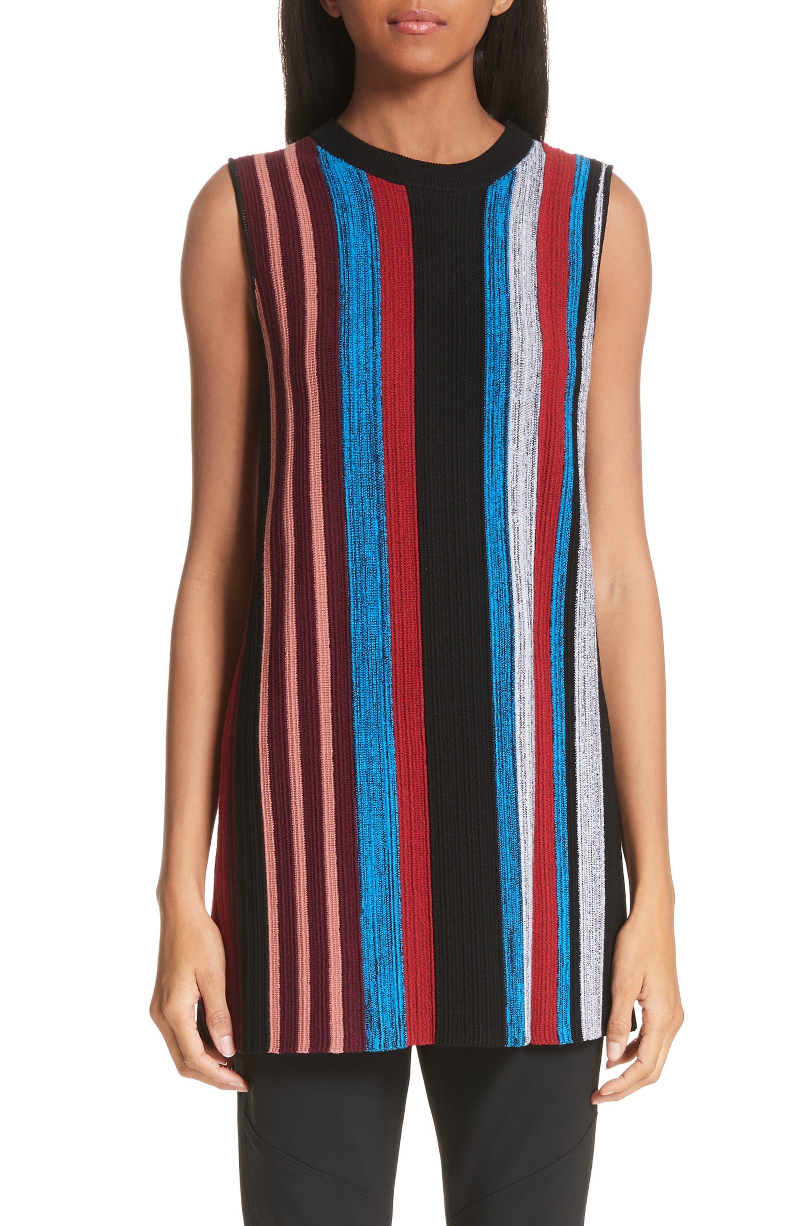 Proenza Schouler Stripe Wool & Silk Blend Ottoman Sweater Tunic, Black
