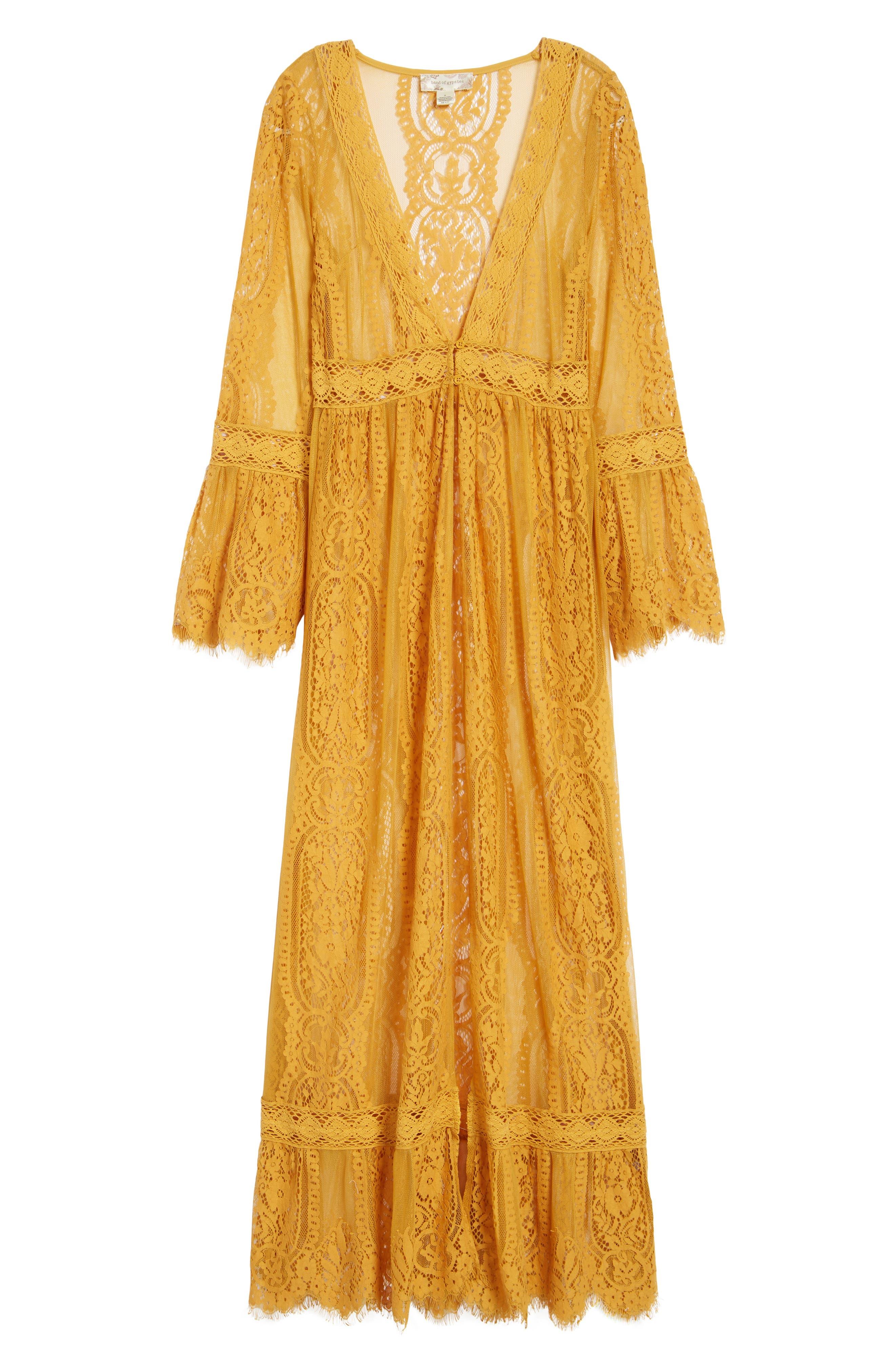 Bell Sleeve Lace Kimono,                             Alternate thumbnail 5, color,                             MUSTARD