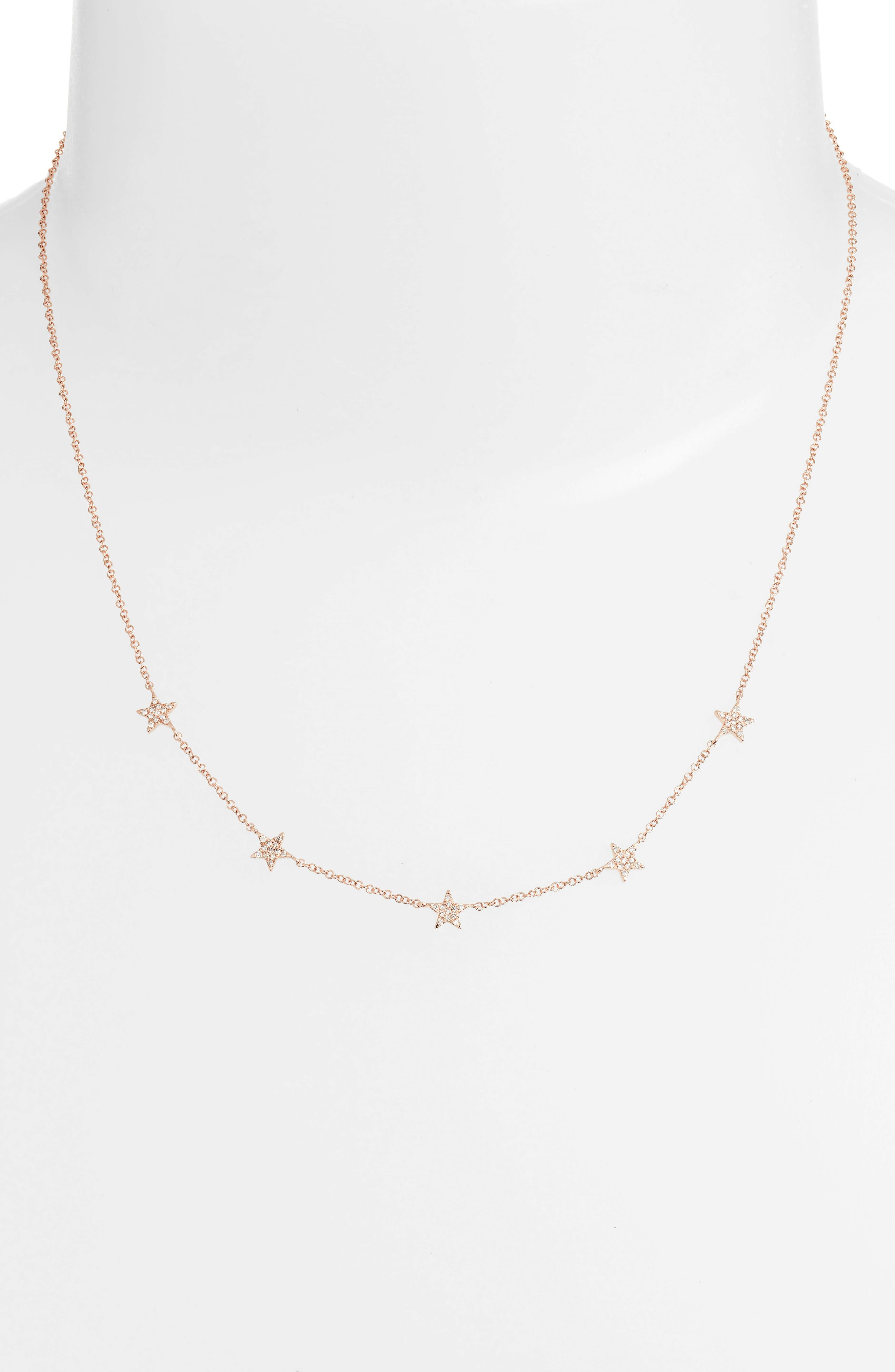 Five-Star Diamond Station Necklace,                             Alternate thumbnail 2, color,                             ROSE GOLD