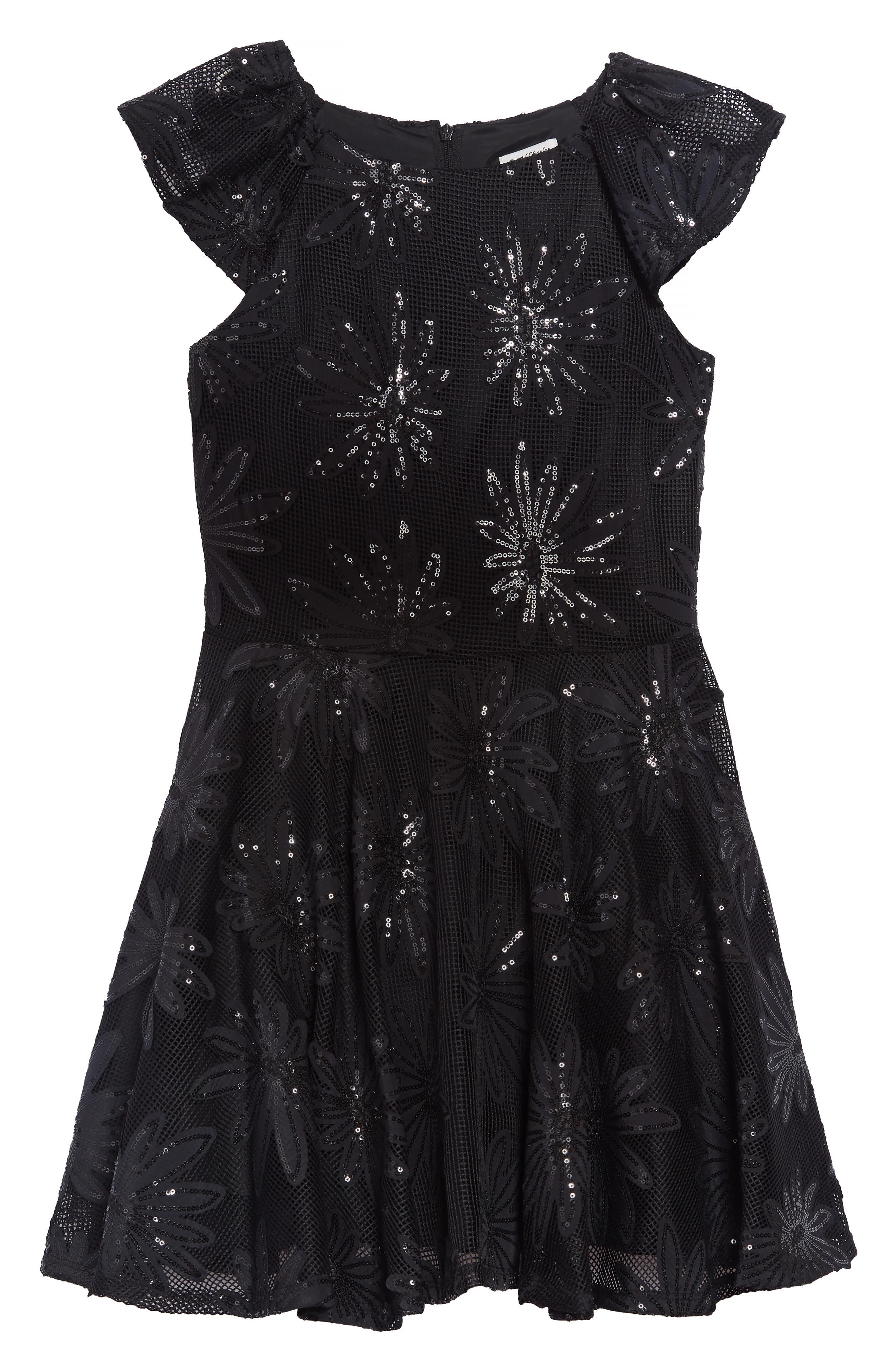 Sequin Flower Dress,                         Main,                         color, BLACK